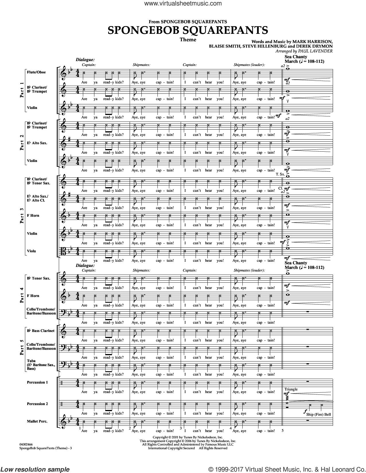 Spongebob Squarepants  (Flex-Band) (COMPLETE) sheet music for concert band by Paul Lavender, Blaise Smith, Derek Drym, Mark Harrison and Steve Hillenburg, intermediate skill level