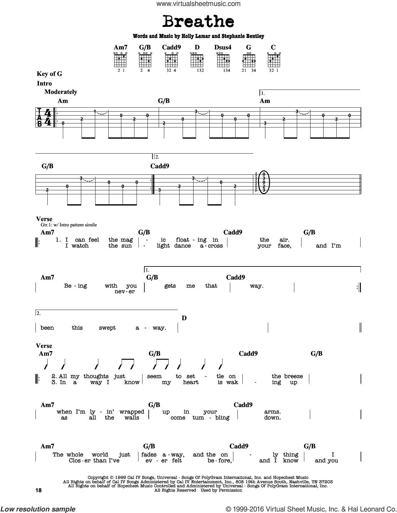 Breathe sheet music for guitar solo (lead sheet) by Faith Hill and Holly Lamar, intermediate guitar (lead sheet). Score Image Preview.