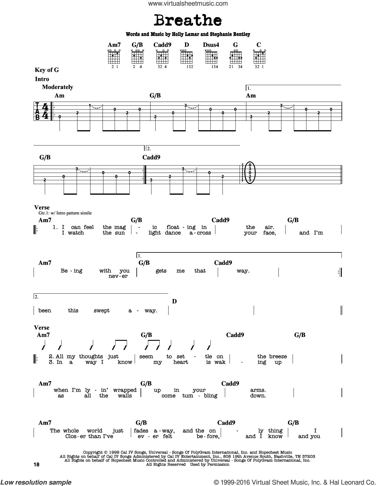 Breathe sheet music for guitar solo (lead sheet) by Faith Hill, Holly Lamar and Stephanie Bentley, intermediate guitar (lead sheet)