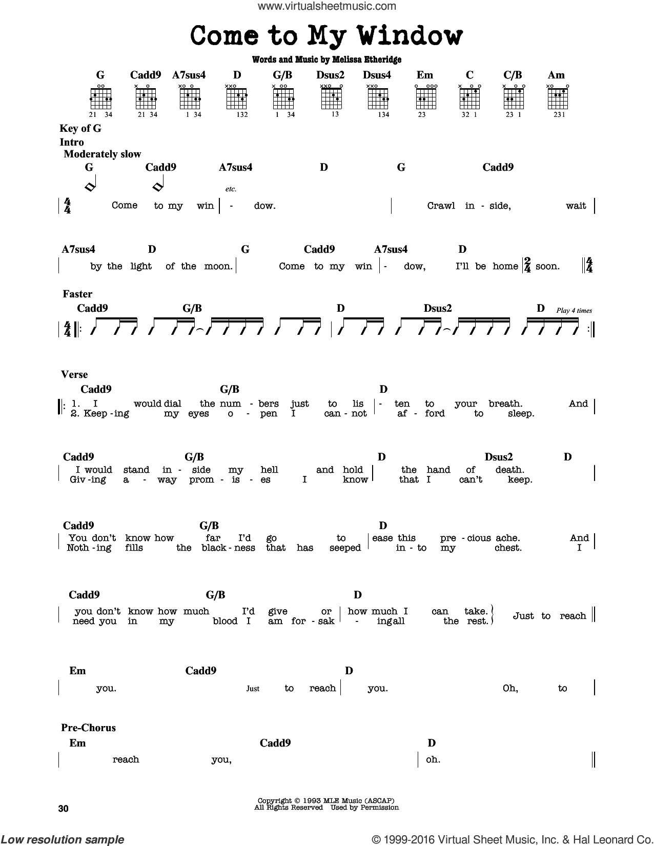 Come To My Window sheet music for guitar solo (lead sheet) by Melissa Etheridge. Score Image Preview.