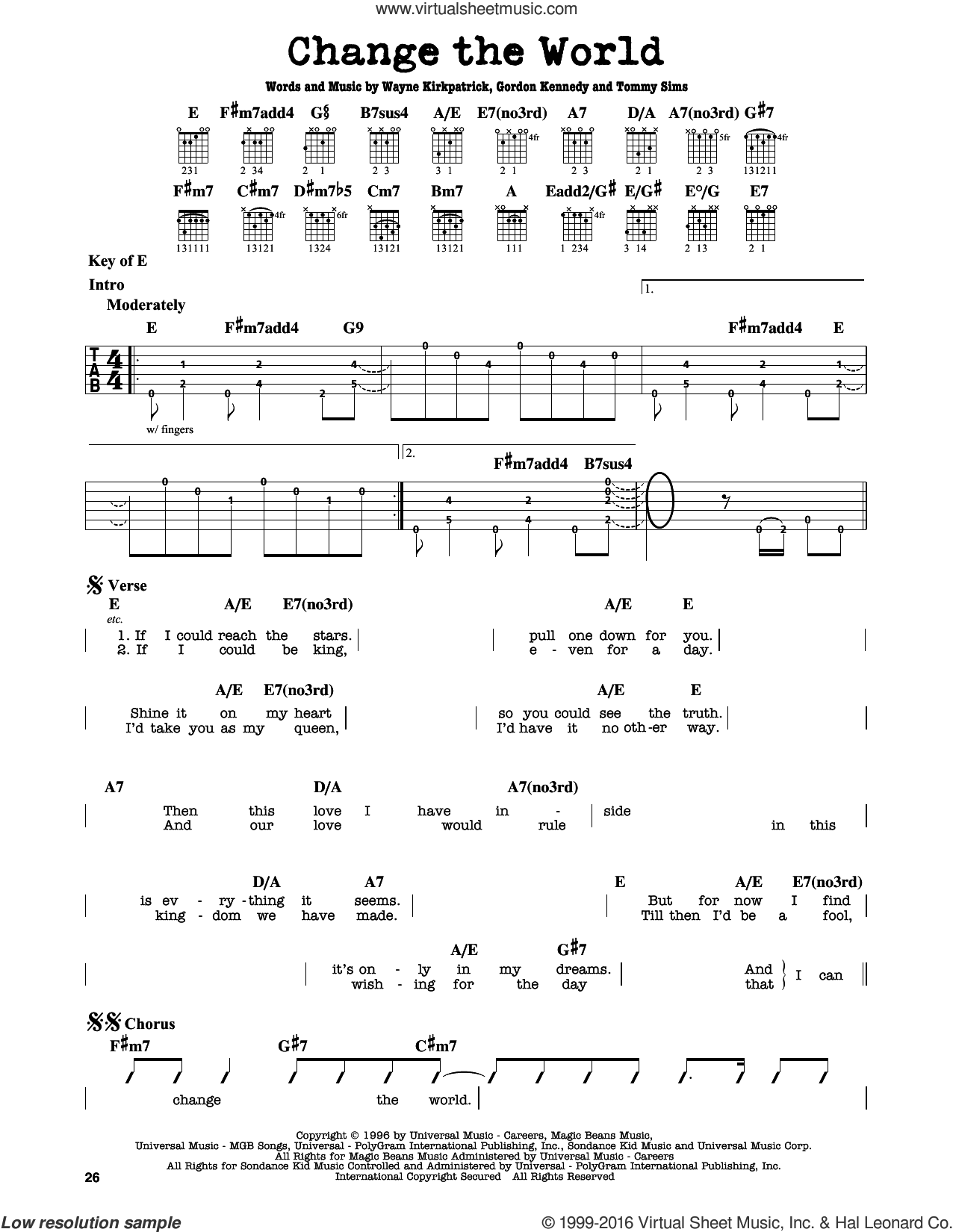 Change The World sheet music for guitar solo (lead sheet) by Eric Clapton, Wynonna, Gordon Kennedy, Tommy Sims and Wayne Kirkpatrick, intermediate guitar (lead sheet). Score Image Preview.