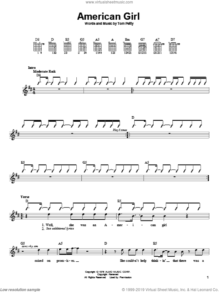 American Girl sheet music for guitar solo (chords) by Tom Petty And The Heartbreakers