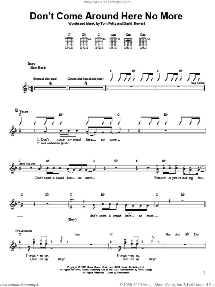 Don't Come Around Here No More sheet music for guitar solo (chords) by Dave Stewart and Tom Petty And The Heartbreakers and Tom Petty. Score Image Preview.