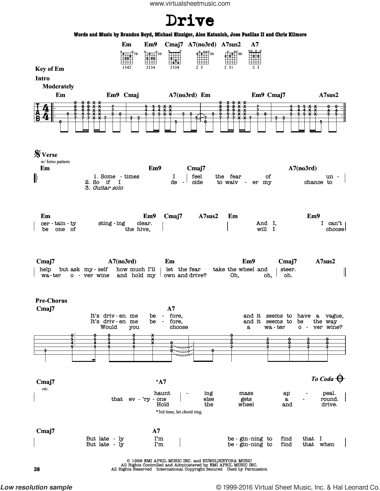 Drive sheet music for guitar solo (lead sheet) by Michael Einziger, Incubus, Alex Katunich and Chris Kilmore. Score Image Preview.