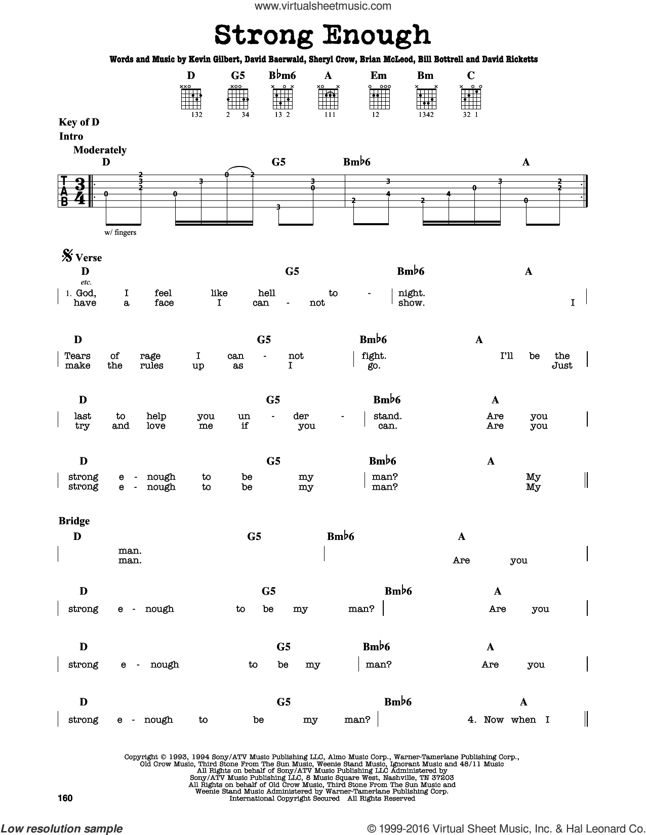 Strong Enough sheet music for guitar solo (lead sheet) by Kevin Gilbert, Bill Bottrell, Brian MacLeod, David Baerwald, David Ricketts and Sheryl Crow. Score Image Preview.