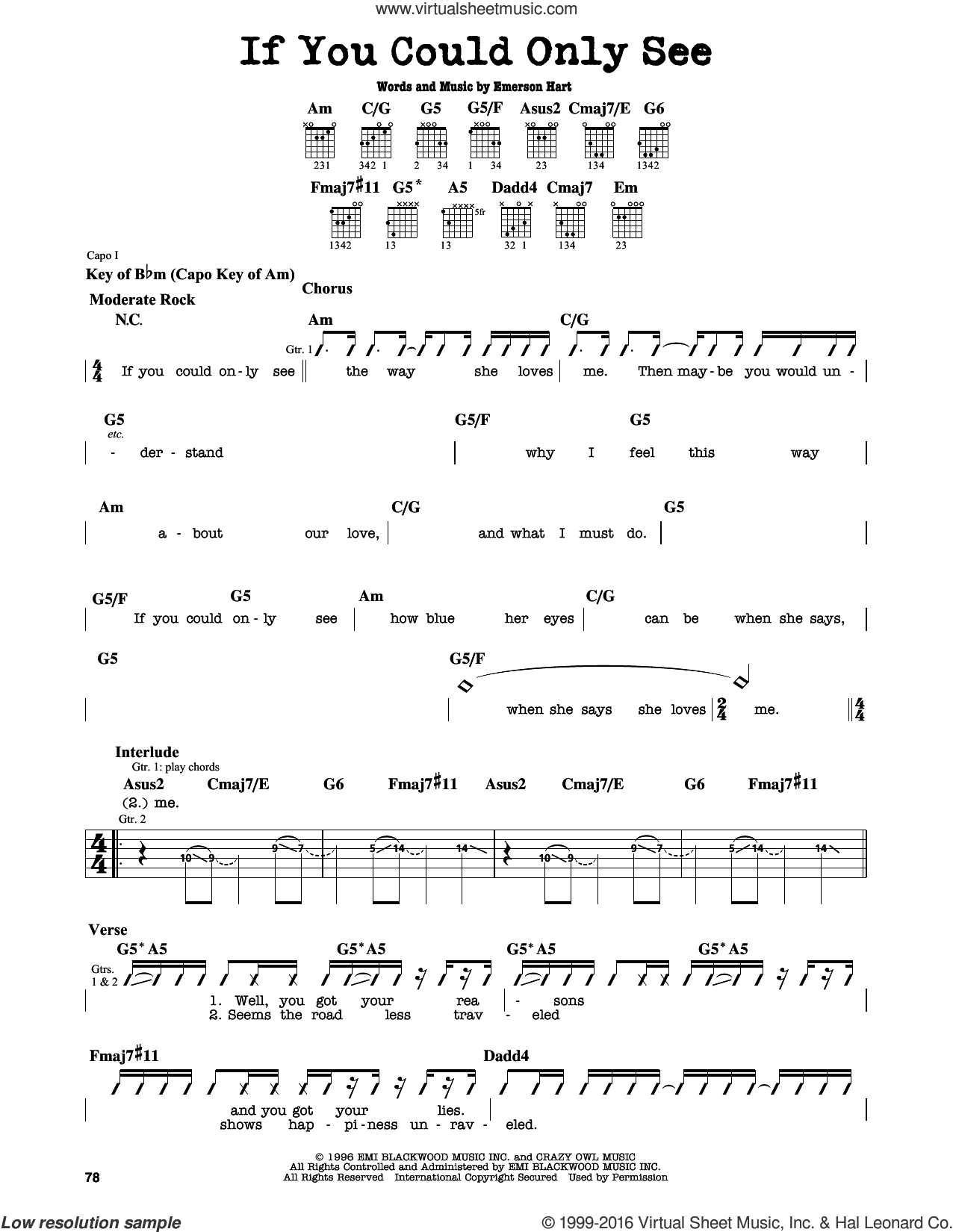 If You Could Only See sheet music for guitar solo (lead sheet) by Tonic, intermediate guitar (lead sheet). Score Image Preview.