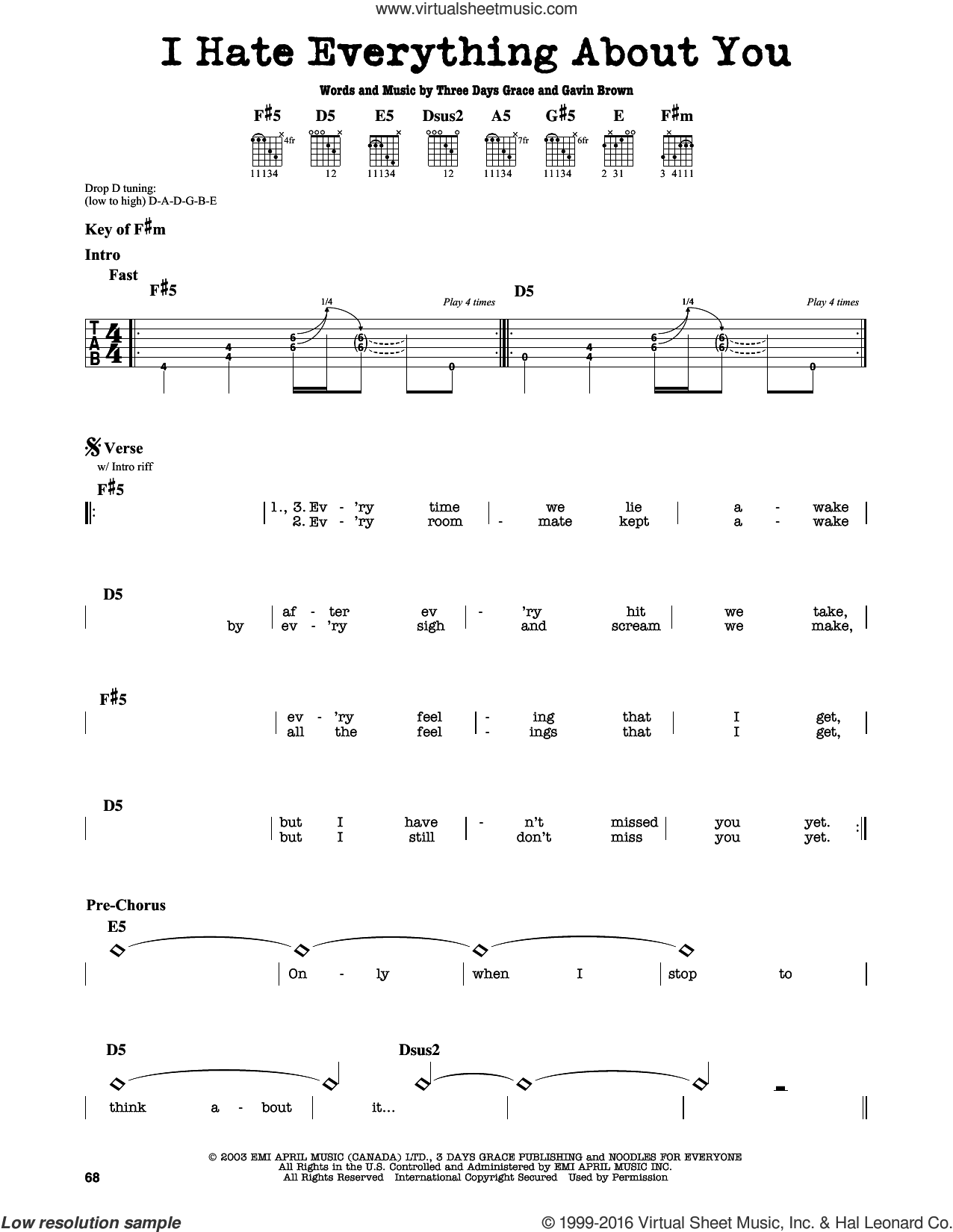 I Hate Everything About You sheet music for guitar solo (lead sheet) by Gavin Brown and Three Days Grace. Score Image Preview.