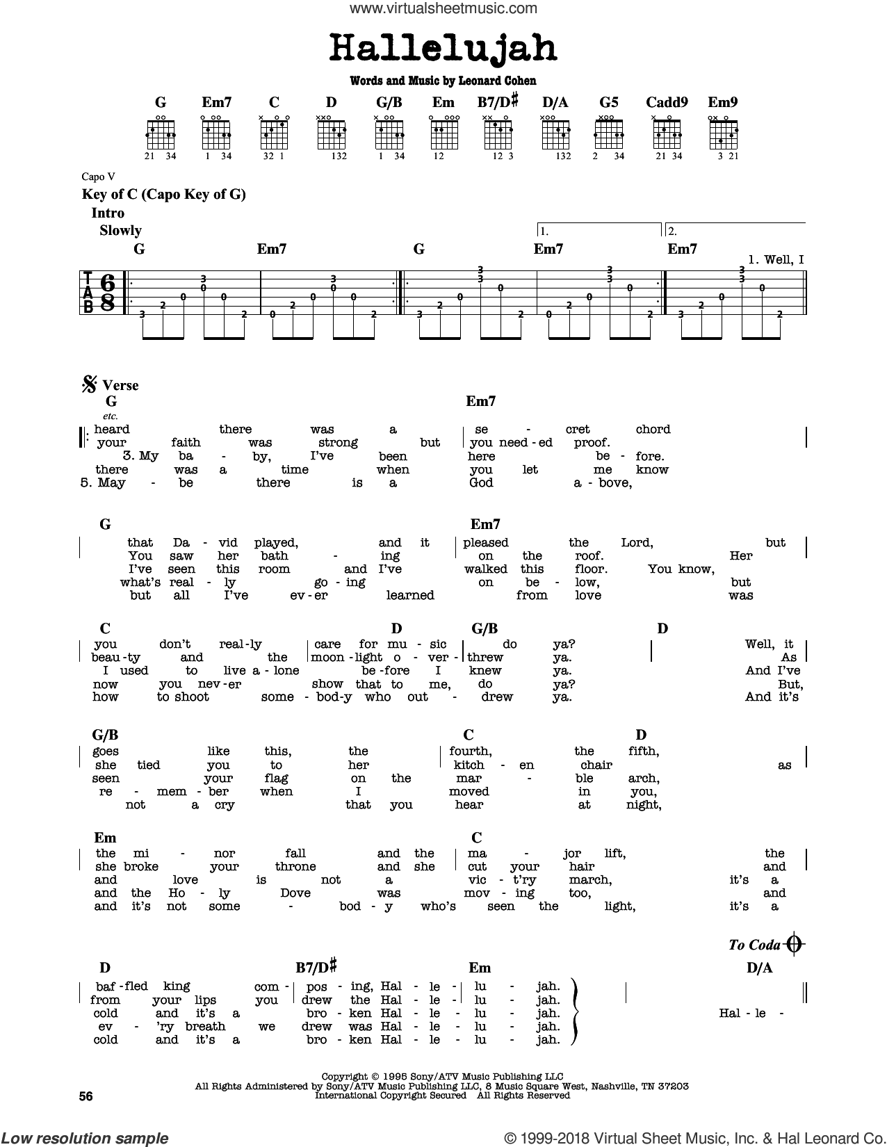 Hallelujah sheet music for guitar solo (lead sheet) by Justin Timberlake & Matt Morris featuring Charlie Sexton and Leonard Cohen, intermediate guitar (lead sheet). Score Image Preview.