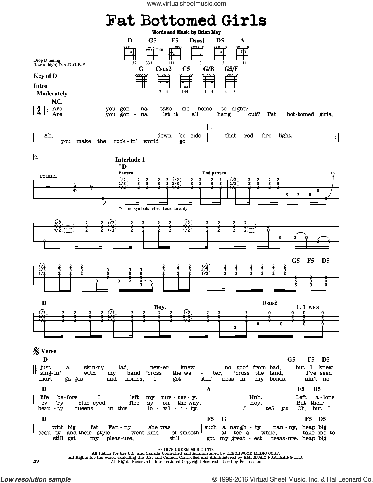 Fat Bottomed Girls sheet music for guitar solo (lead sheet) by Queen and Brian May, intermediate guitar (lead sheet). Score Image Preview.