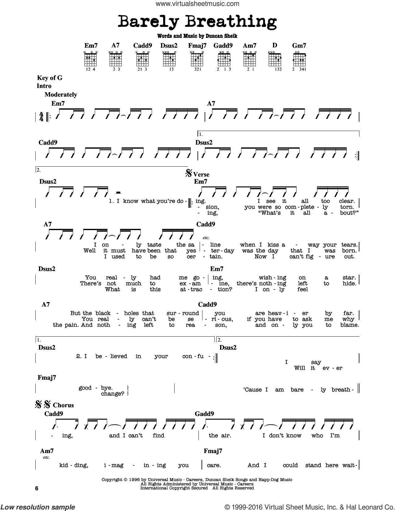 Barely Breathing sheet music for guitar solo (lead sheet) by Duncan Sheik, intermediate guitar (lead sheet)