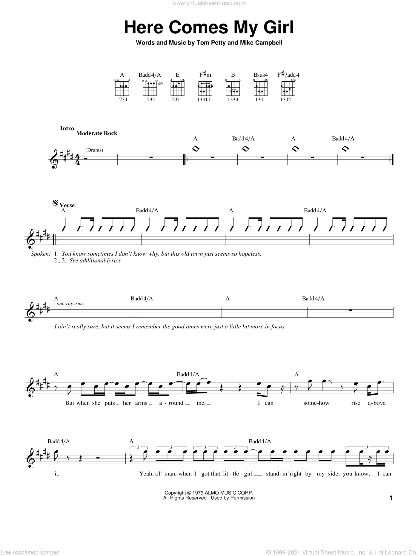 Here Comes My Girl sheet music for guitar solo (chords) by Mike Campbell and Tom Petty And The Heartbreakers and Tom Petty. Score Image Preview.
