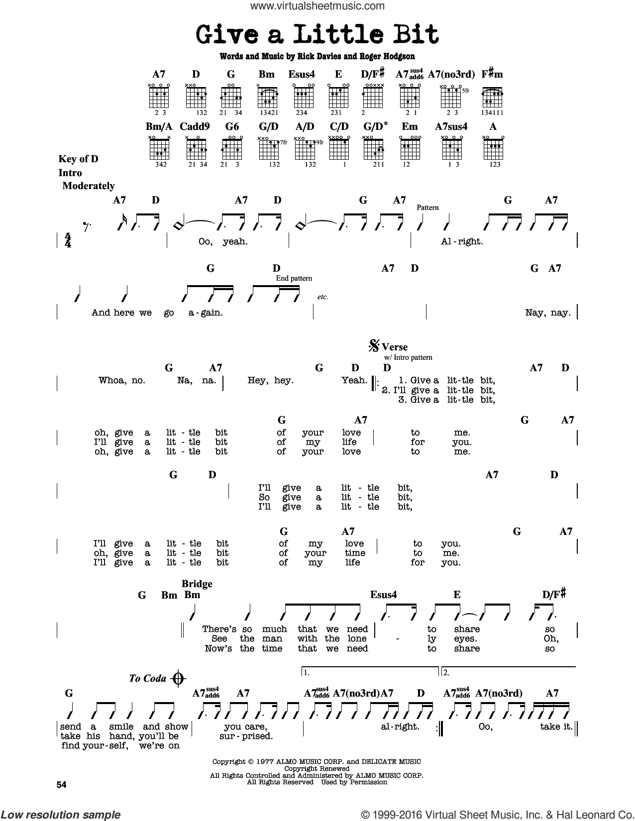 Give A Little Bit sheet music for guitar solo (lead sheet) by Roger Hodgson, Supertramp and Rick Davies. Score Image Preview.