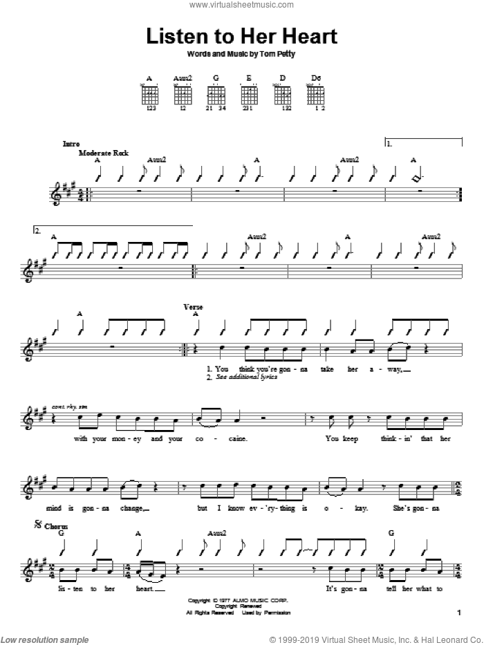 Heartbreakers - Listen To Her Heart sheet music for guitar solo (chords)