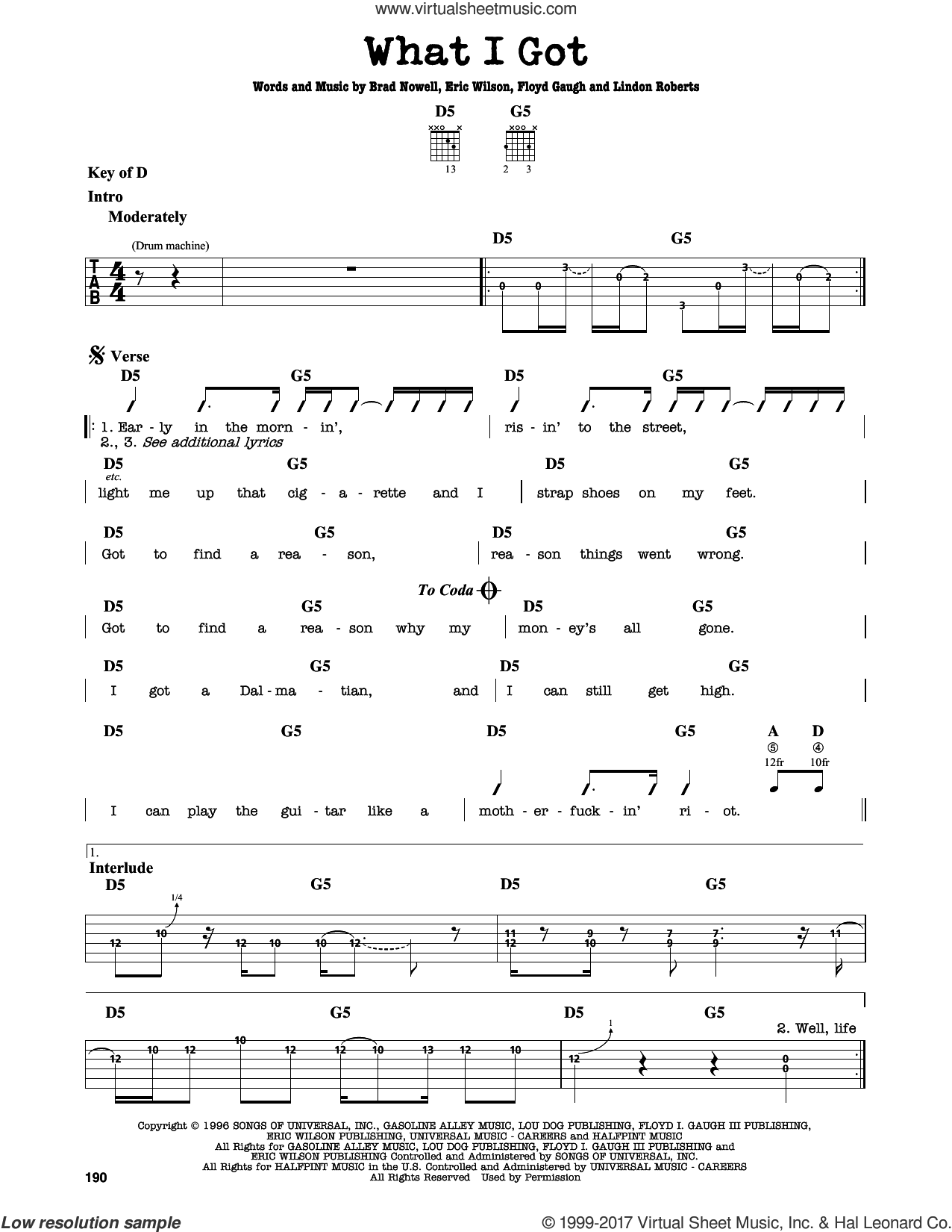 What I Got sheet music for guitar solo (lead sheet) by Sublime, Brad Nowell, Eric Wilson, Floyd Gaugh and Lindon Roberts, intermediate guitar (lead sheet)