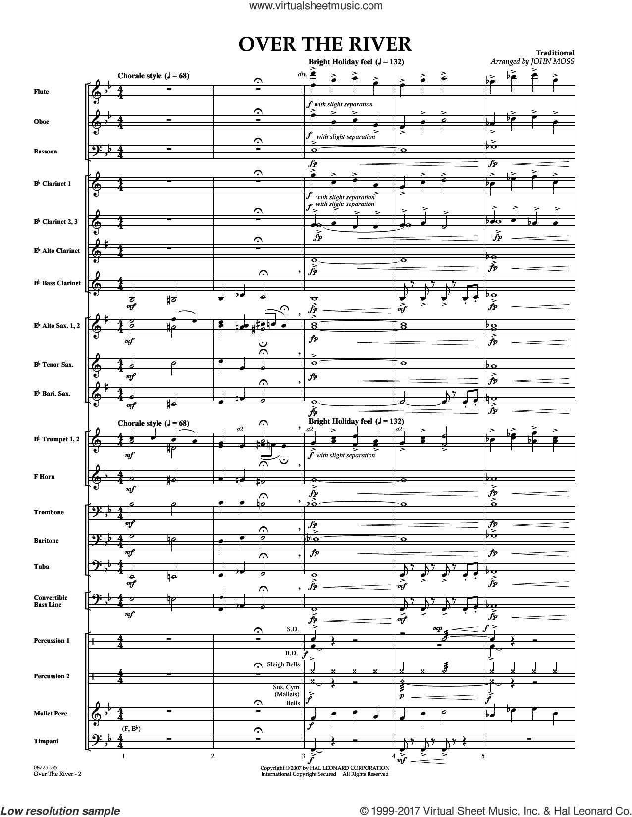 Over the River (COMPLETE) sheet music for concert band by John Moss, intermediate. Score Image Preview.