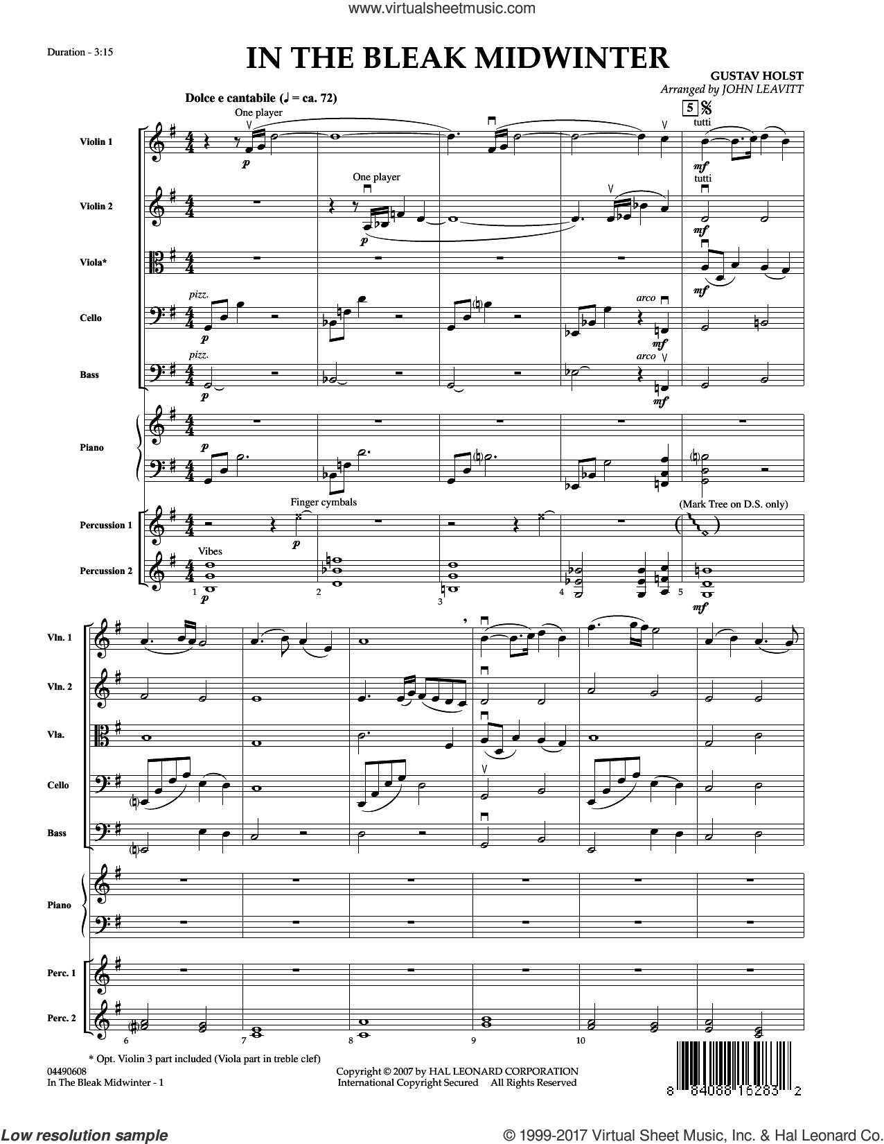 In the Bleak Midwinter (COMPLETE) sheet music for orchestra by John Leavitt, Christina Rossetti and Gustav Holst, Christmas carol score, intermediate orchestra. Score Image Preview.