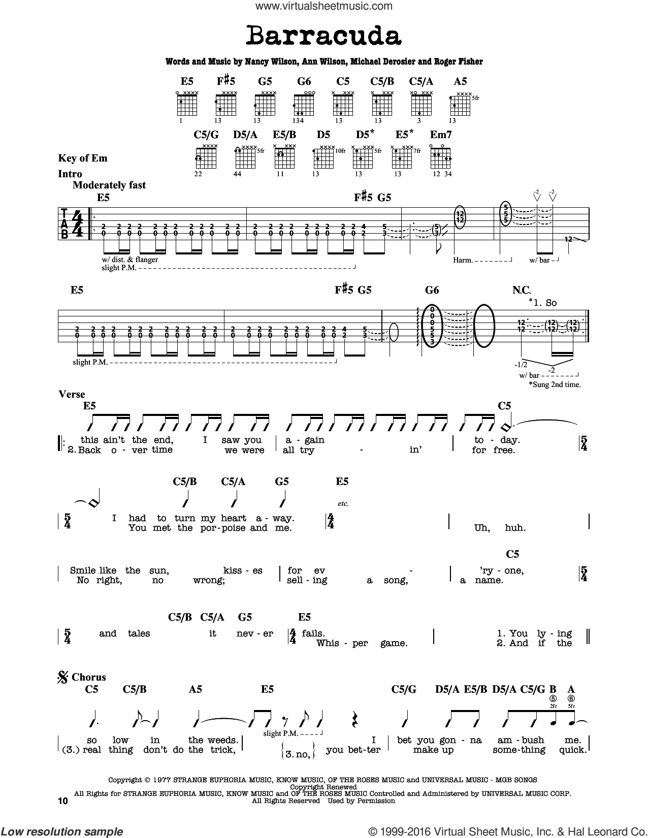 Barracuda sheet music for guitar solo (lead sheet) by Heart, Ann Wilson and Nancy Wilson. Score Image Preview.