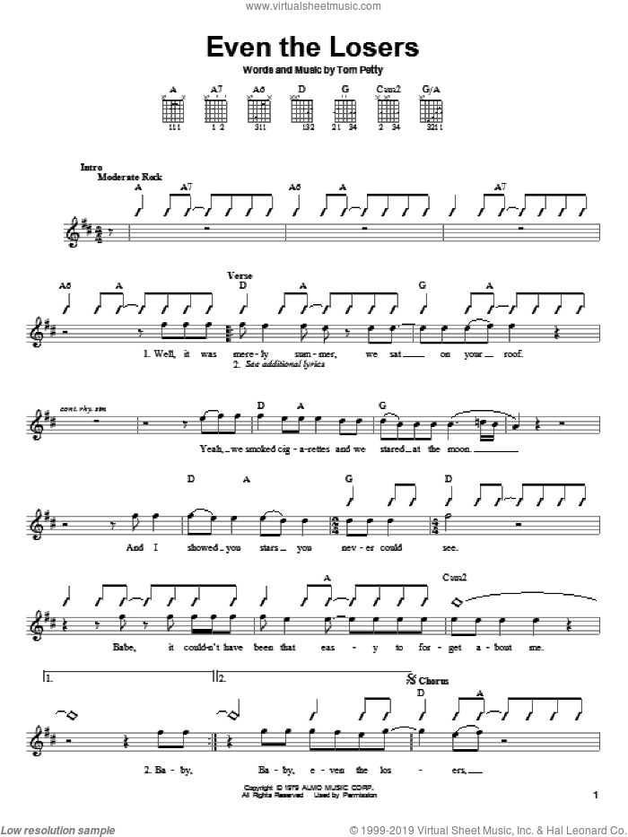 Heartbreakers - Even The Losers sheet music for guitar solo (chords)