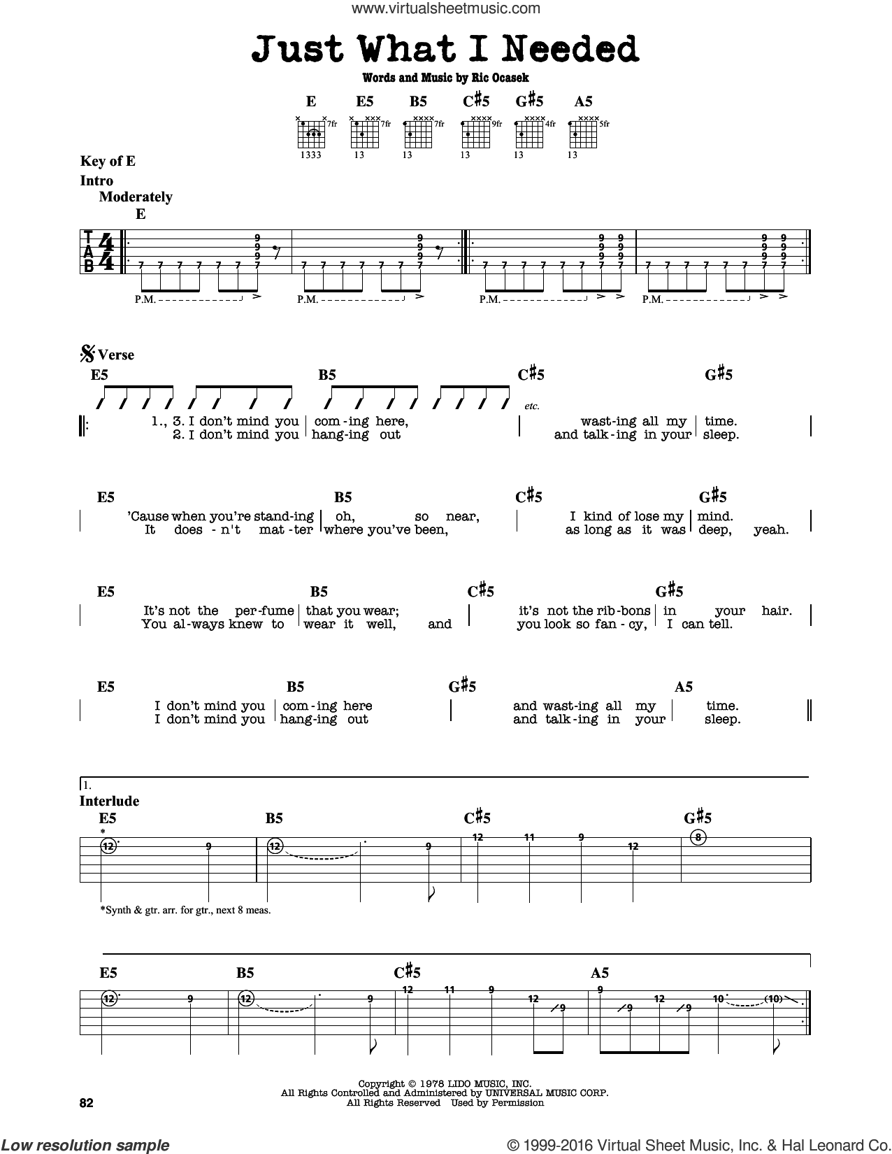 Just What I Needed sheet music for guitar solo (lead sheet) by Ric Ocasek
