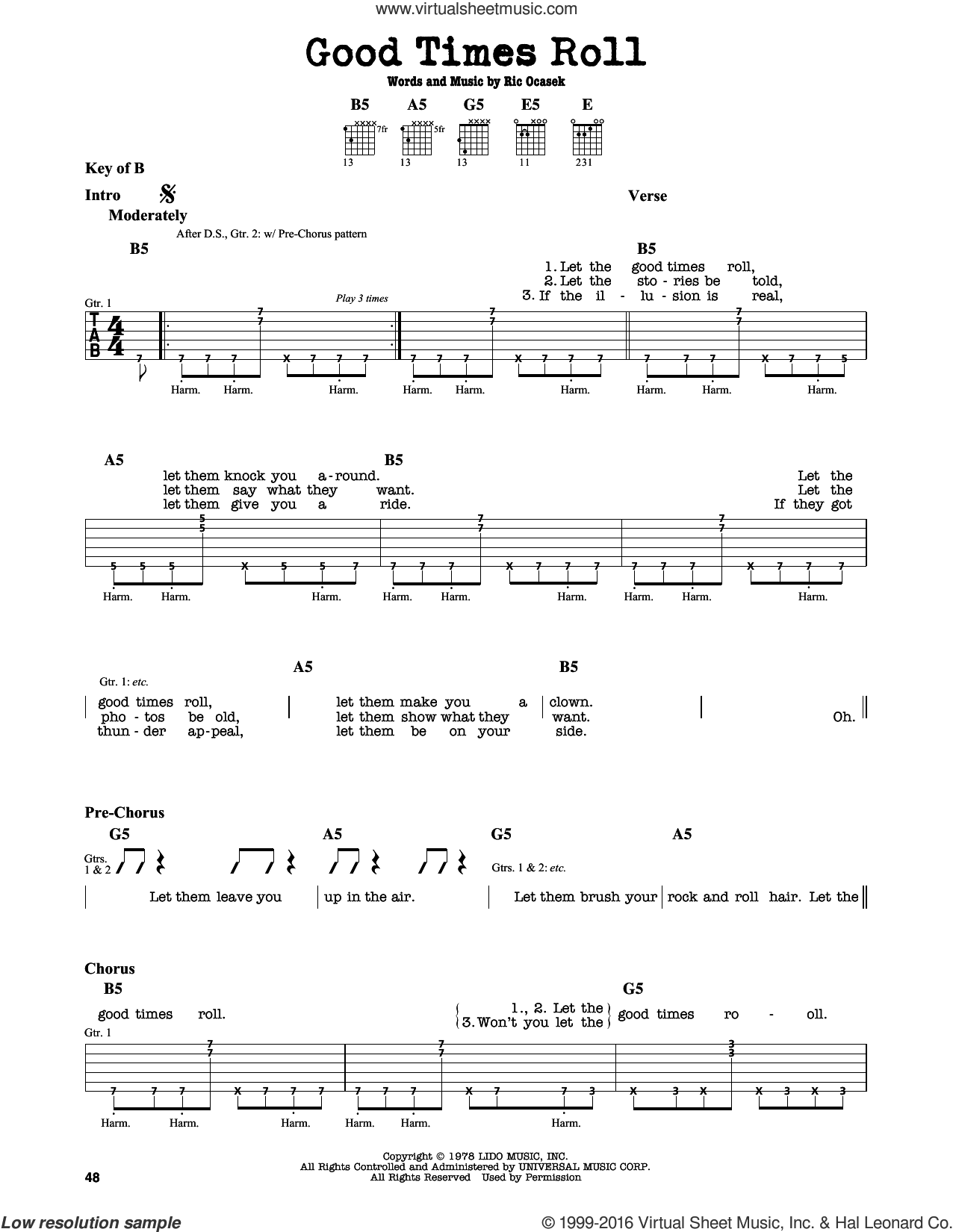 Good Times Roll sheet music for guitar solo (lead sheet) by The Cars, intermediate guitar (lead sheet). Score Image Preview.