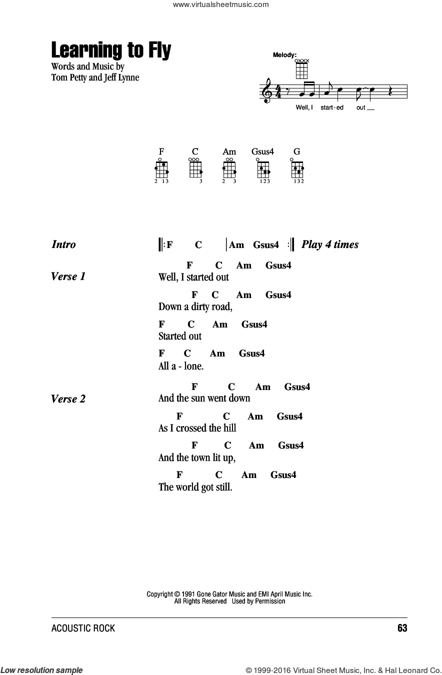 Learning To Fly sheet music for ukulele (chords) by Jeff Lynne and Tom Petty. Score Image Preview.