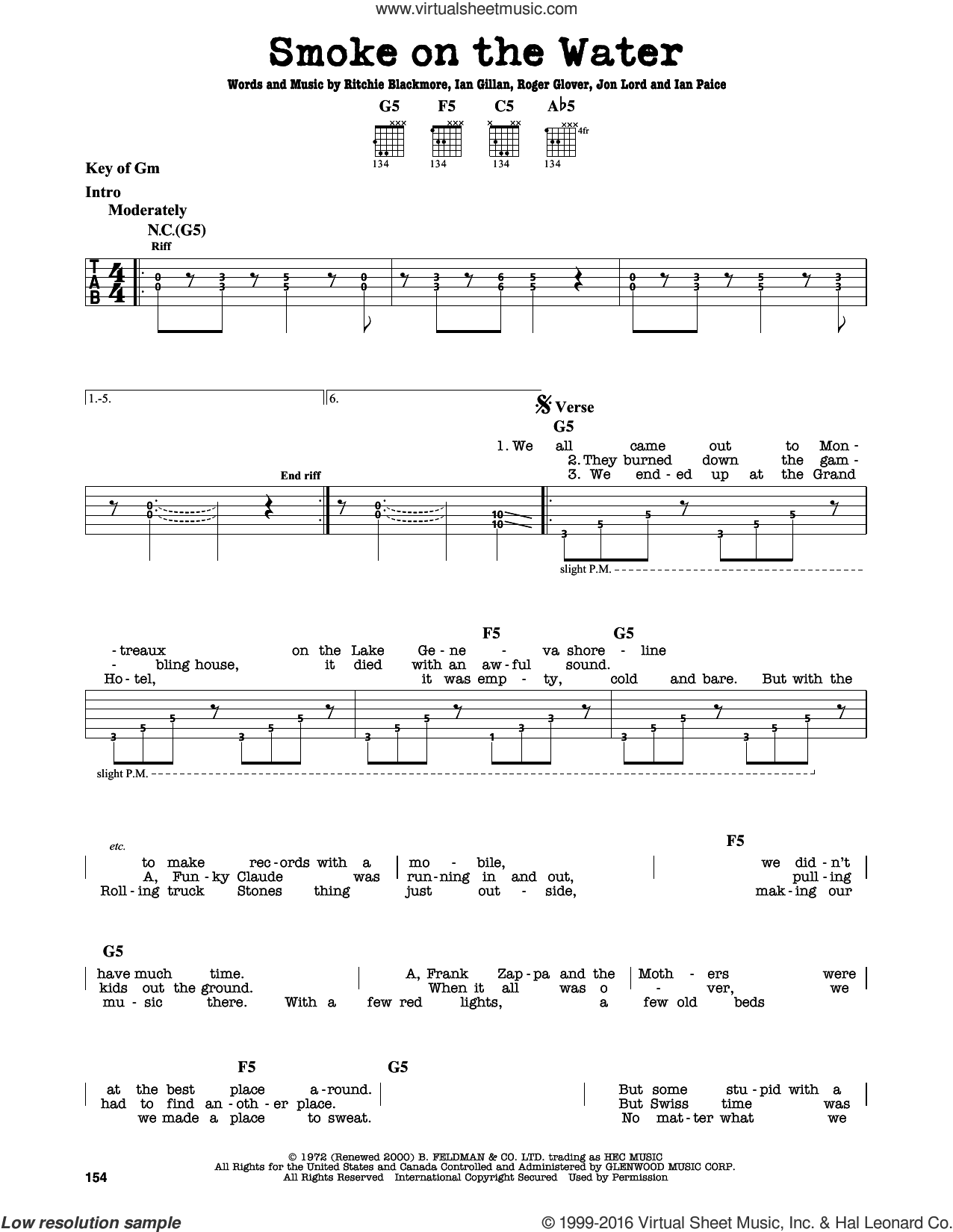 Smoke On The Water sheet music for guitar solo (lead sheet) by Roger Glover and Deep Purple. Score Image Preview.