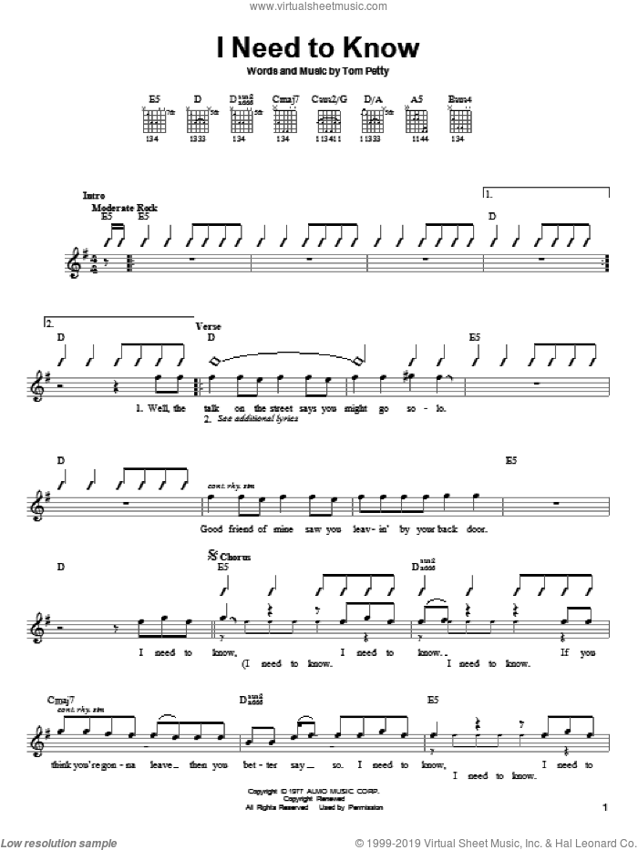 I Need To Know sheet music for guitar solo (chords) by Tom Petty And The Heartbreakers and Tom Petty. Score Image Preview.