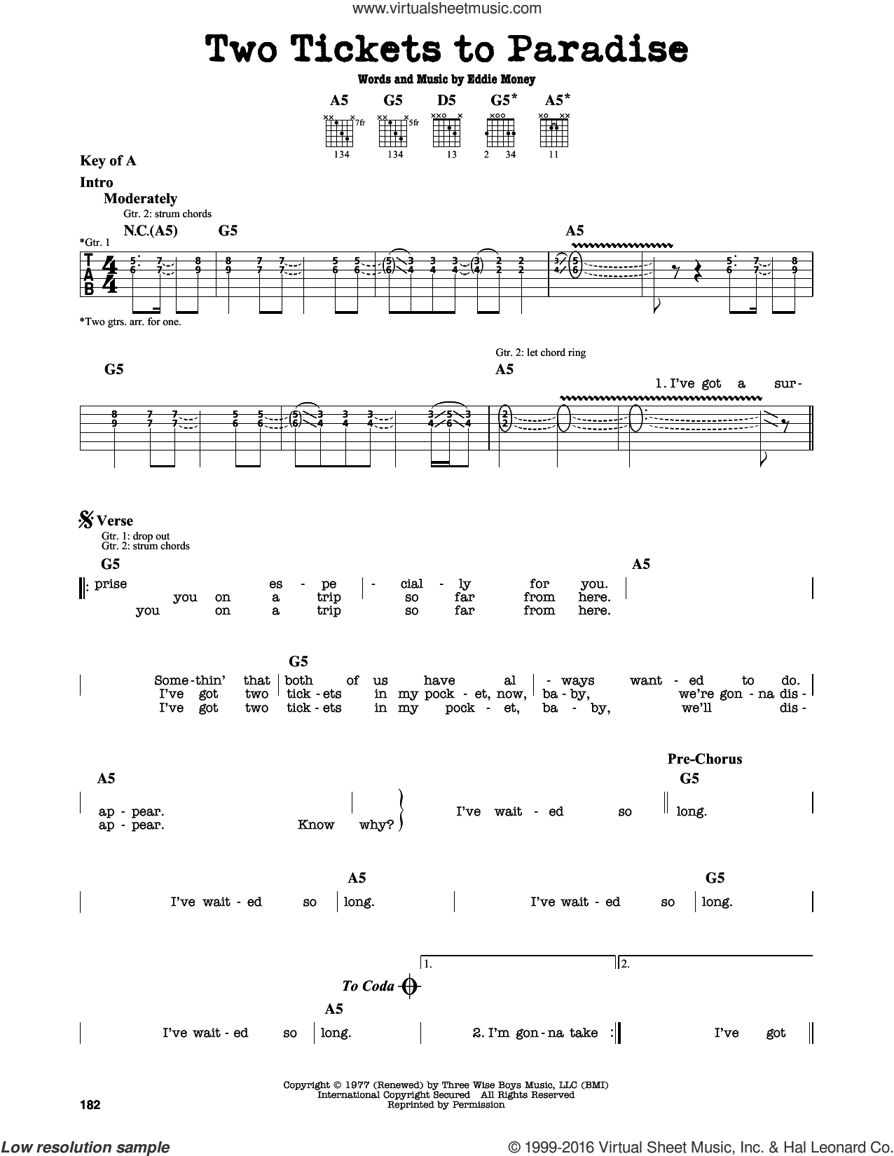 Two Tickets To Paradise sheet music for guitar solo (lead sheet) by Eddie Money, intermediate guitar (lead sheet). Score Image Preview.