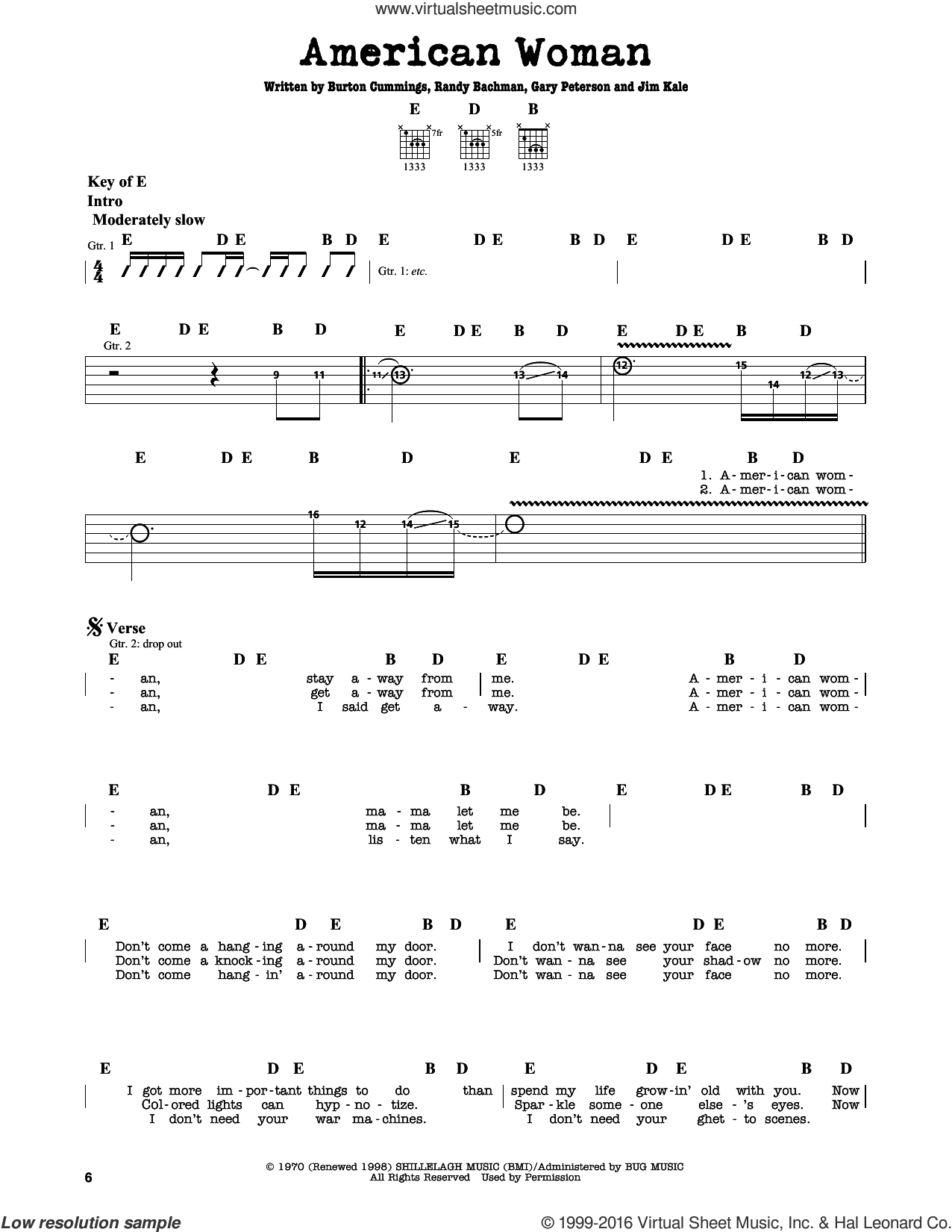 American Woman sheet music for guitar solo (lead sheet) by Randy Bachman, Lenny Kravitz and Jim Kale. Score Image Preview.