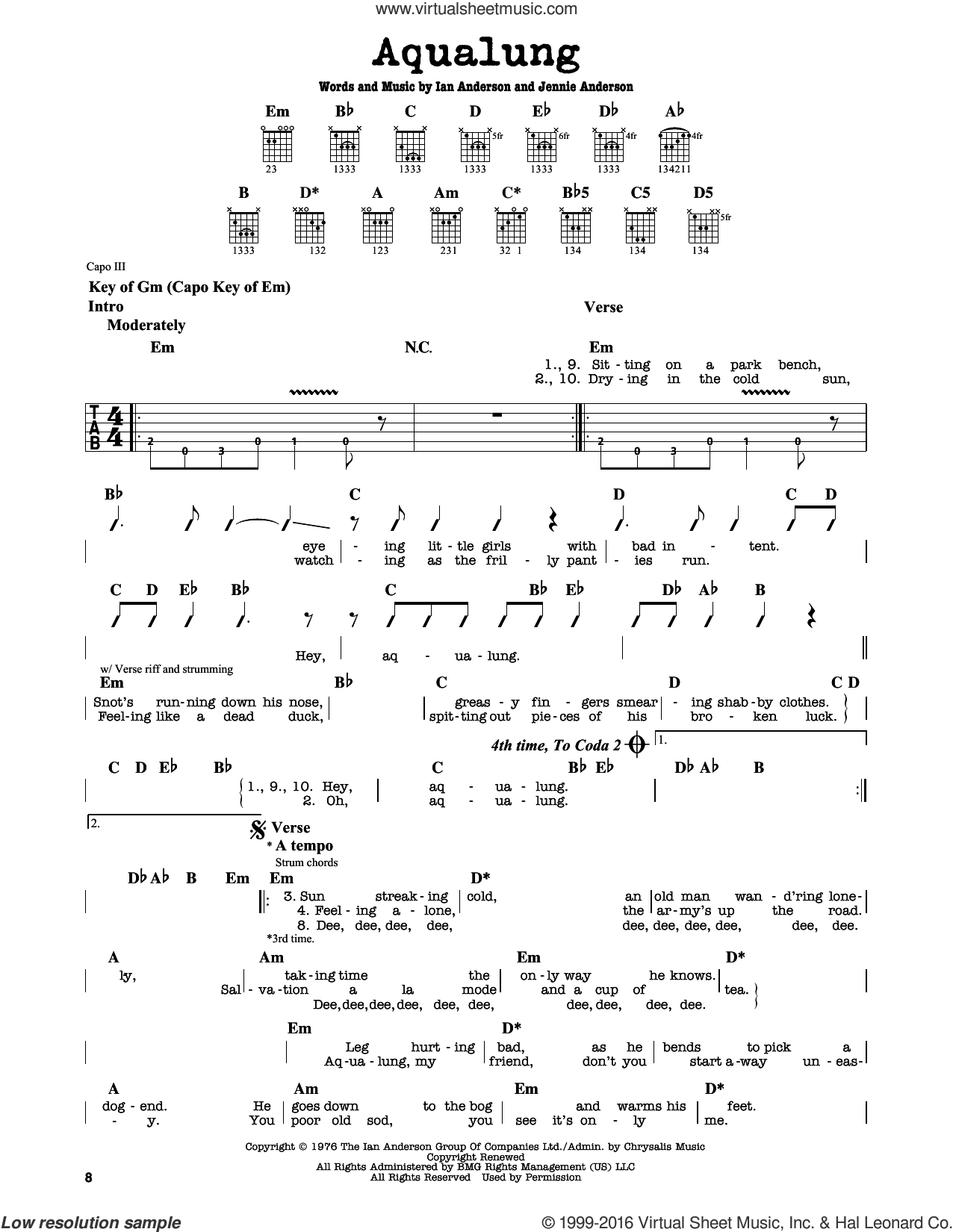 Aqualung sheet music for guitar solo (lead sheet) by Jethro Tull, Ian Anderson and Jennie Anderson, intermediate guitar (lead sheet)