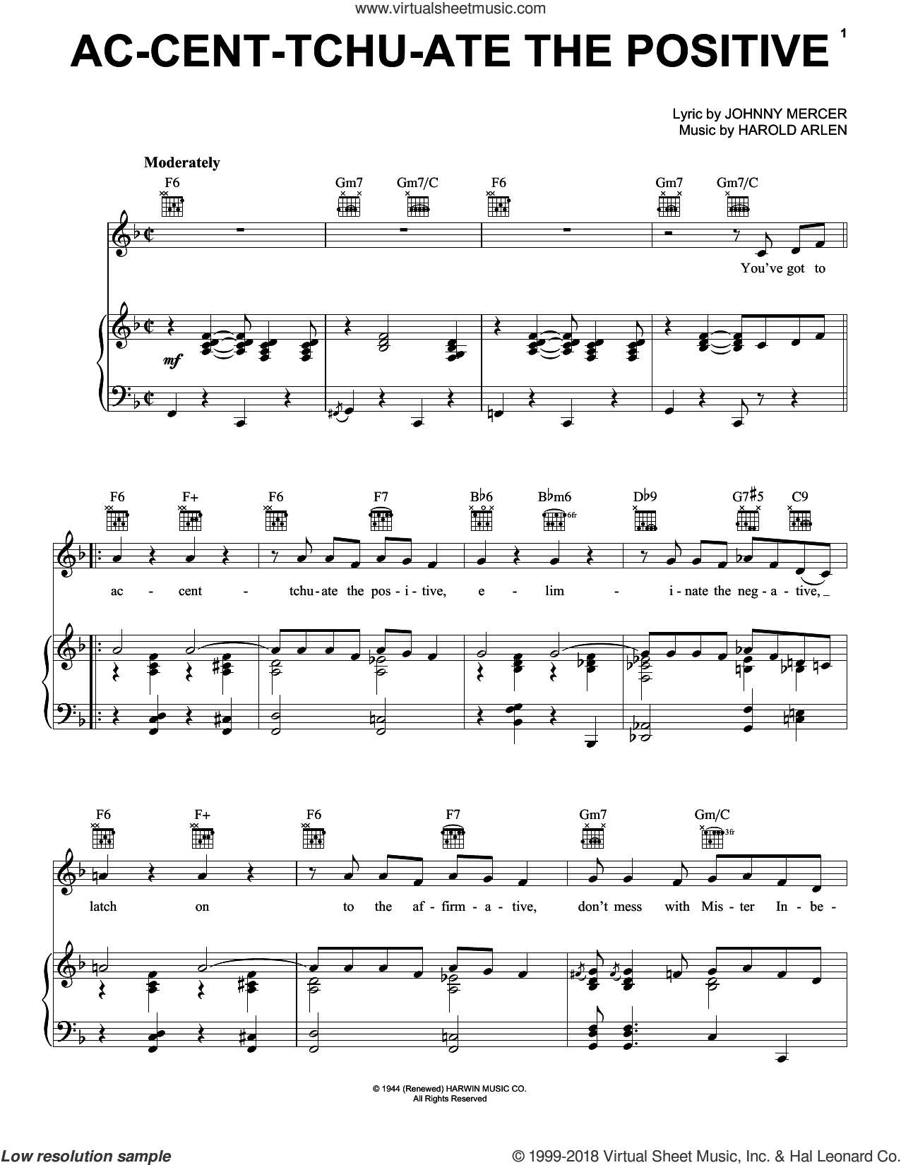 Ac-cent-tchu-ate The Positive sheet music for voice, piano or guitar by Bing Crosby, Harold Arlen and Johnny Mercer, intermediate skill level