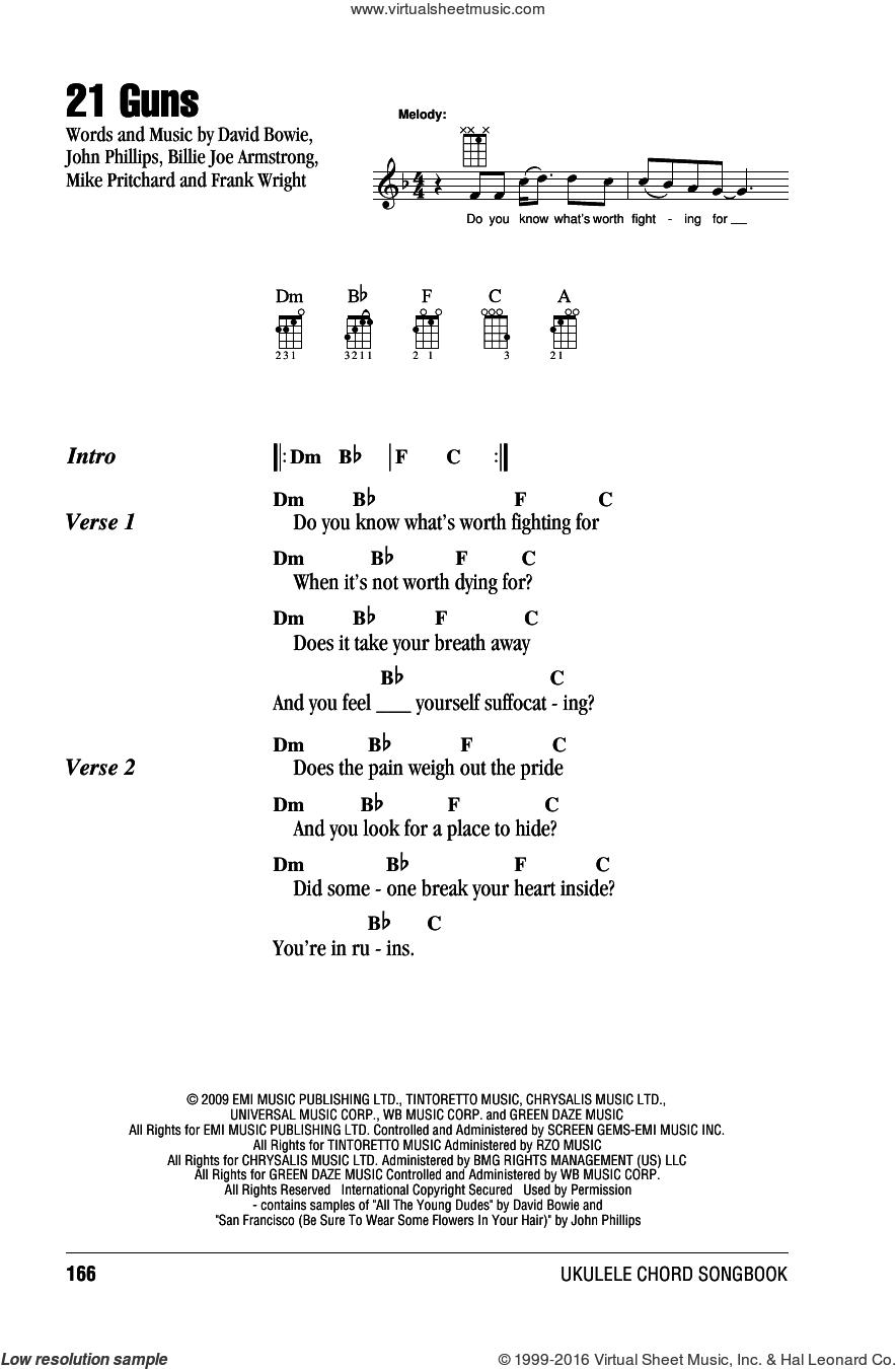 21 Guns sheet music for ukulele (chords) by Green Day, Billie Joe and John Phillips, intermediate skill level