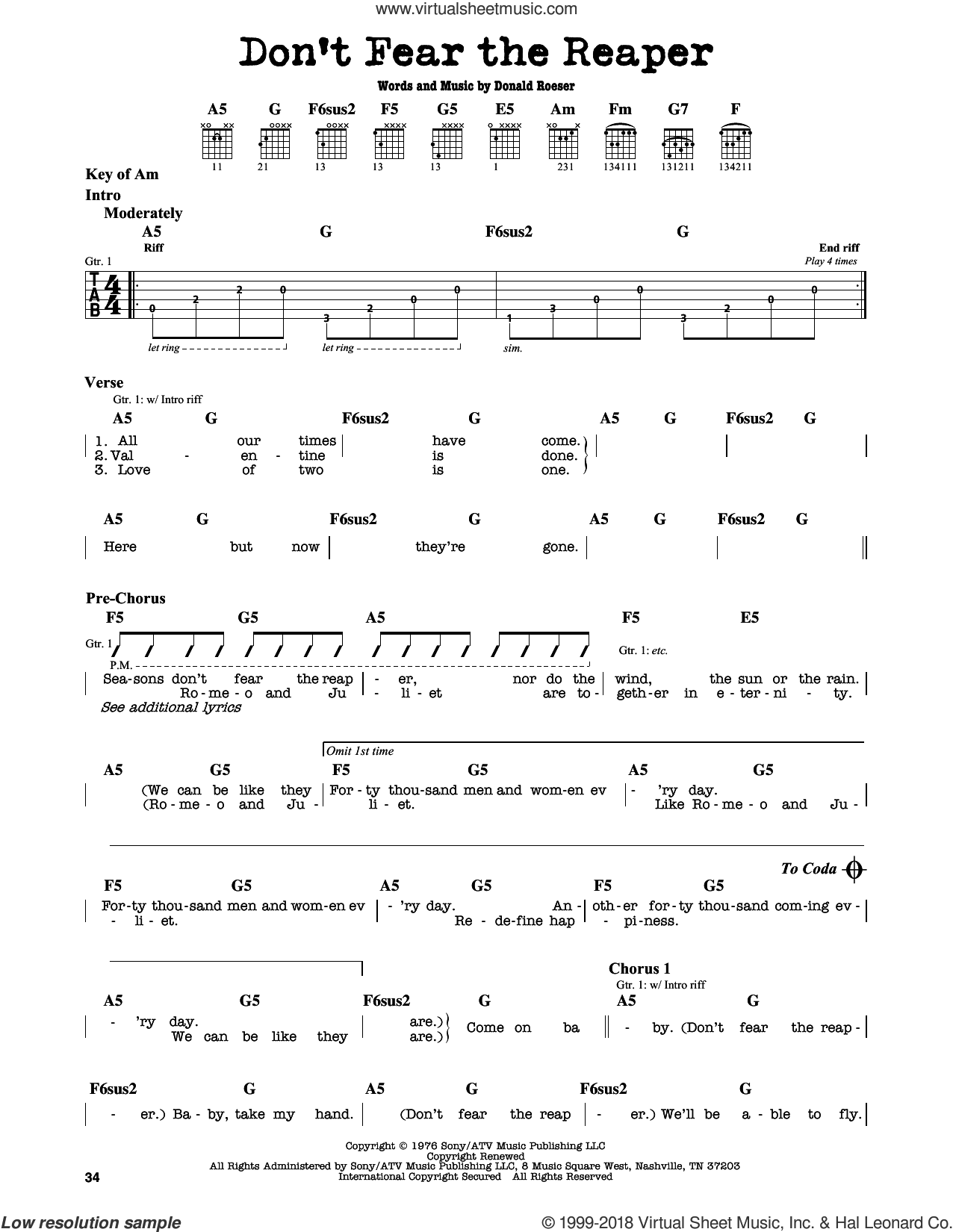 Don't Fear The Reaper sheet music for guitar solo (lead sheet) by Blue Oyster Cult and Donald Roeser, intermediate guitar (lead sheet)