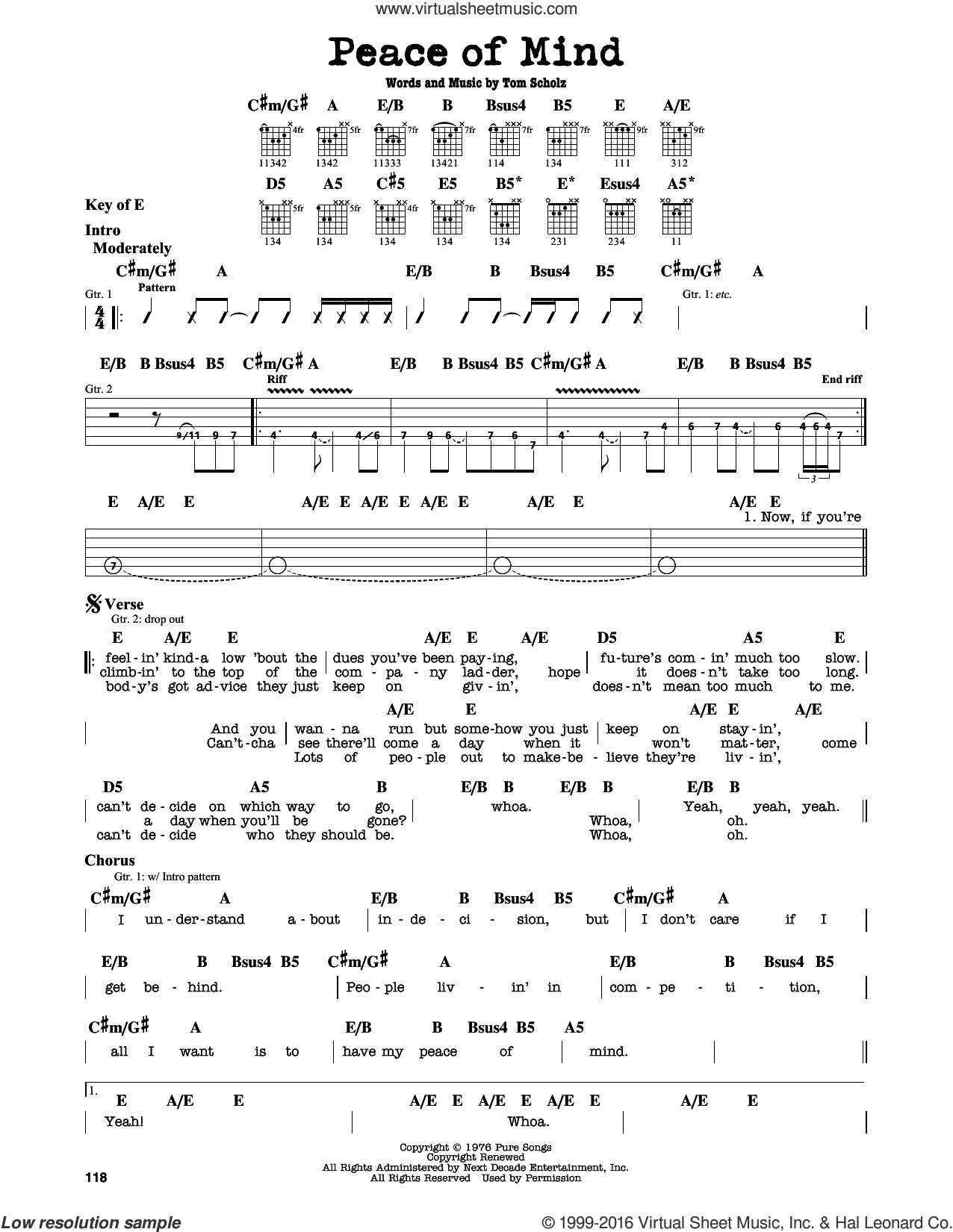 Peace Of Mind sheet music for guitar solo (lead sheet) by Boston. Score Image Preview.