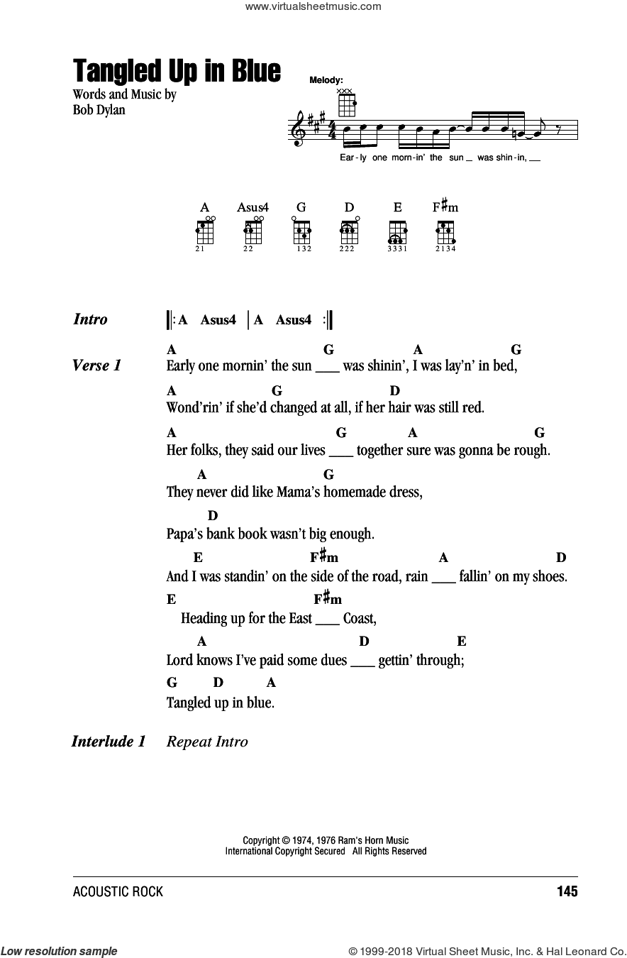 Tangled Up In Blue sheet music for ukulele (chords) by Bob Dylan, intermediate skill level