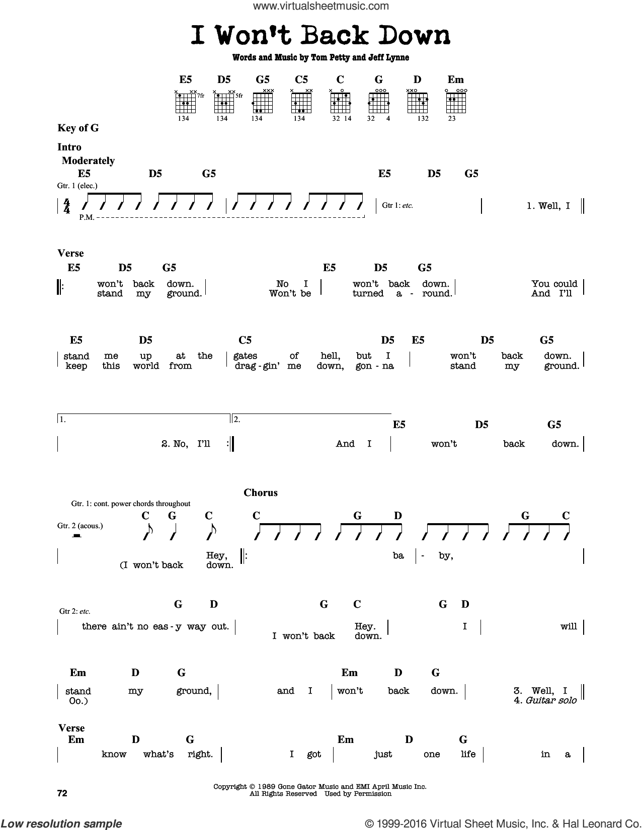 I Won't Back Down sheet music for guitar solo (lead sheet) by Tom Petty and Jeff Lynne, intermediate guitar (lead sheet)
