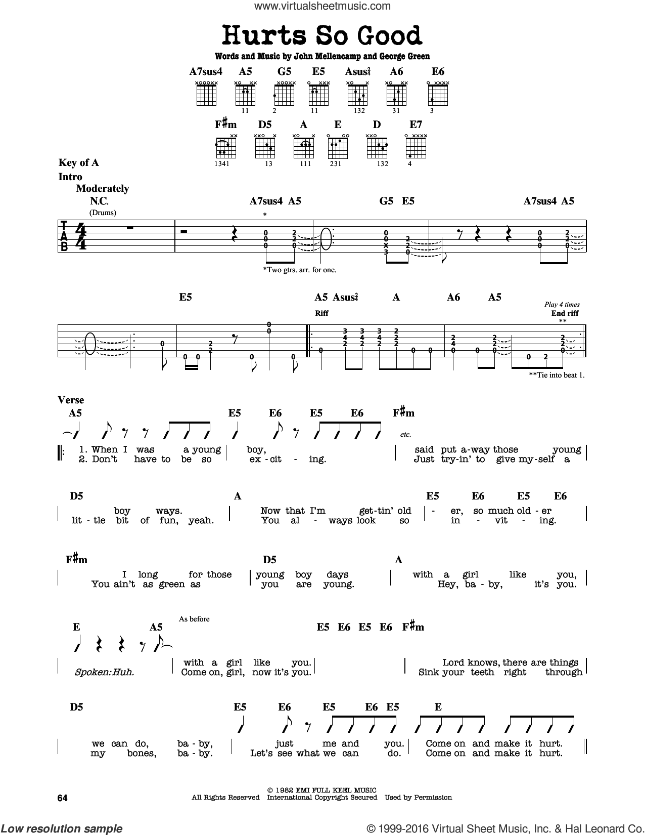 Hurts So Good sheet music for guitar solo (lead sheet) by John Mellencamp, John 'Cougar' and George Green, intermediate guitar (lead sheet)