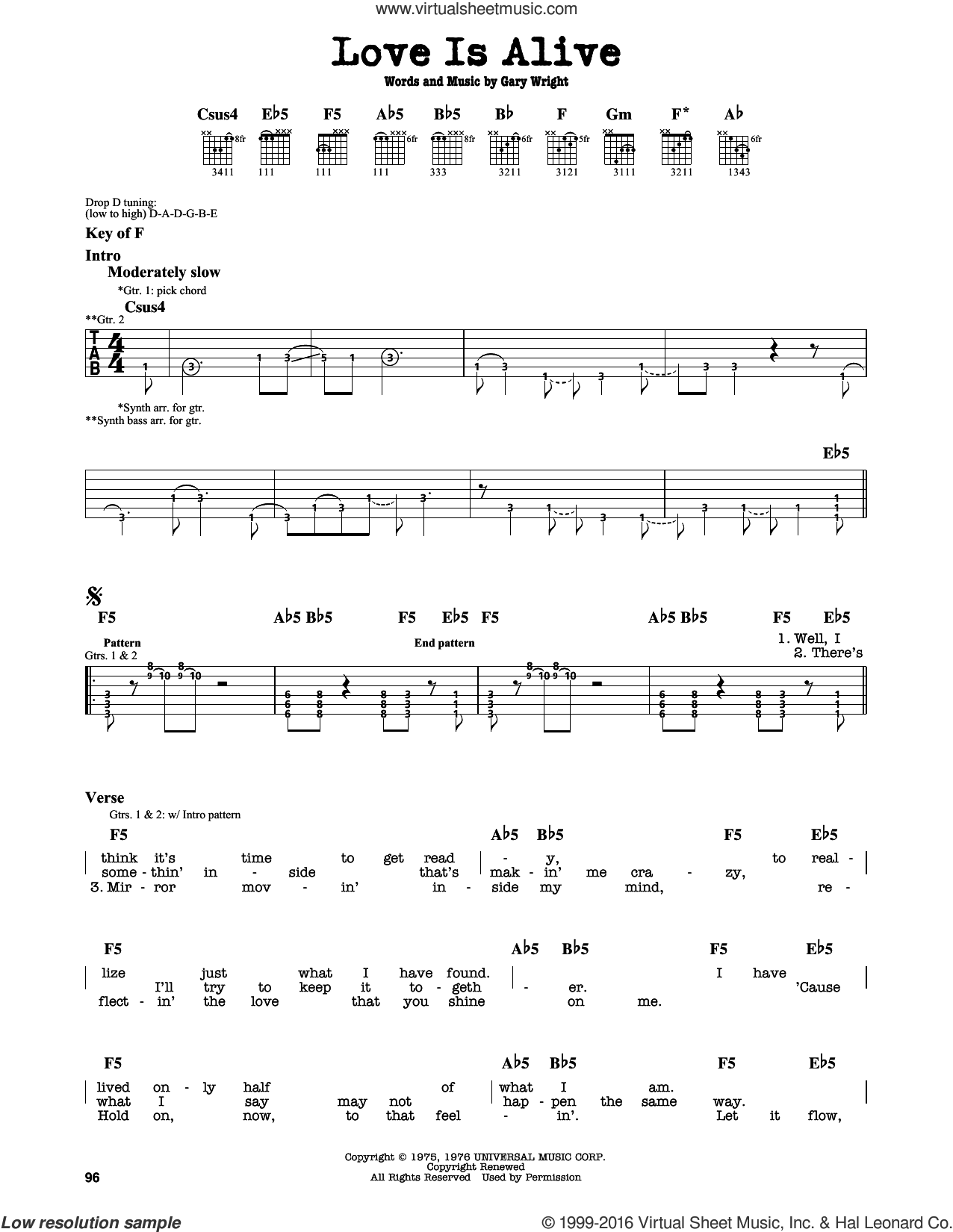 Love Is Alive sheet music for guitar solo (lead sheet) by Gary Wright. Score Image Preview.