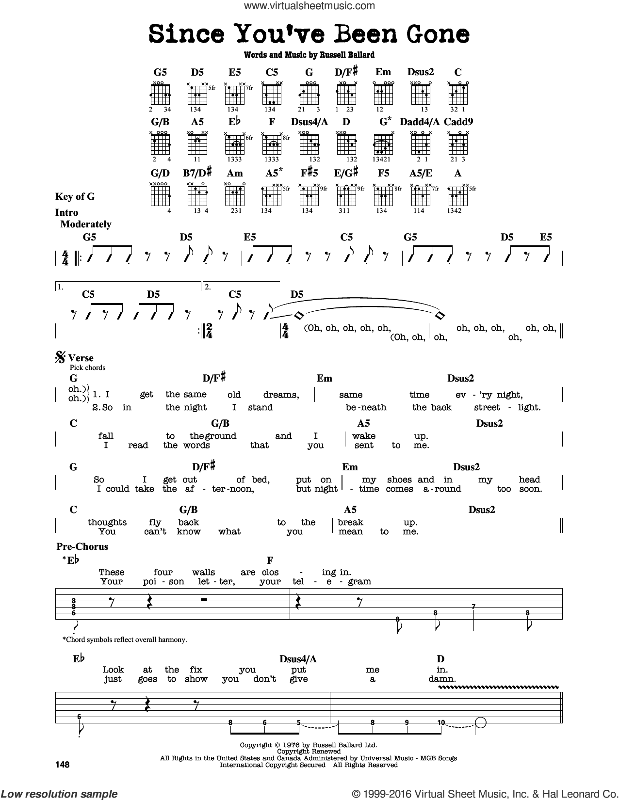 Since You've Been Gone sheet music for guitar solo (lead sheet) by Russ Ballard and Deep Purple. Score Image Preview.