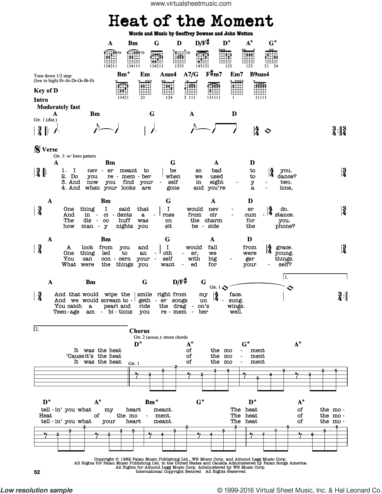 Heat Of The Moment sheet music for guitar solo (lead sheet) by Asia, Geoff Downes and John Wetton, intermediate guitar (lead sheet). Score Image Preview.
