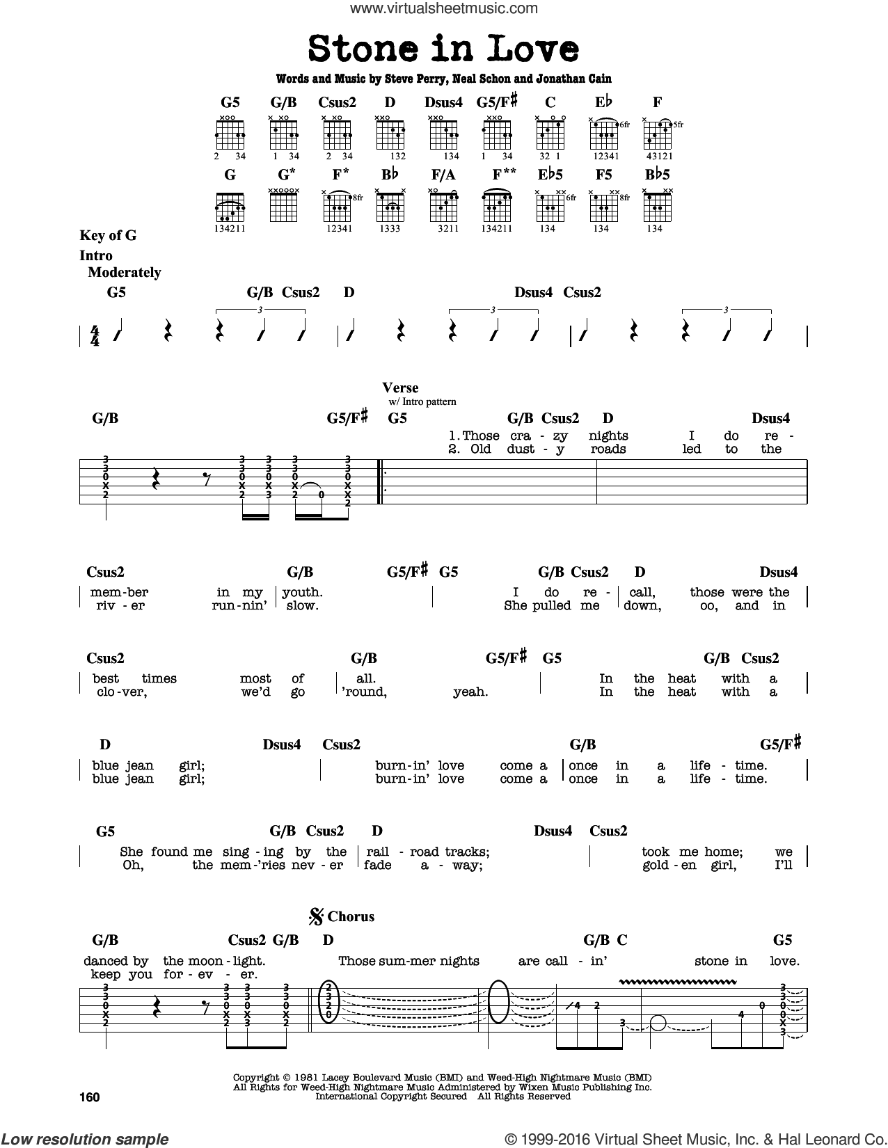 Stone In Love sheet music for guitar solo (lead sheet) by Steve Perry, Journey, Jonathan Cain and Neal Schon. Score Image Preview.