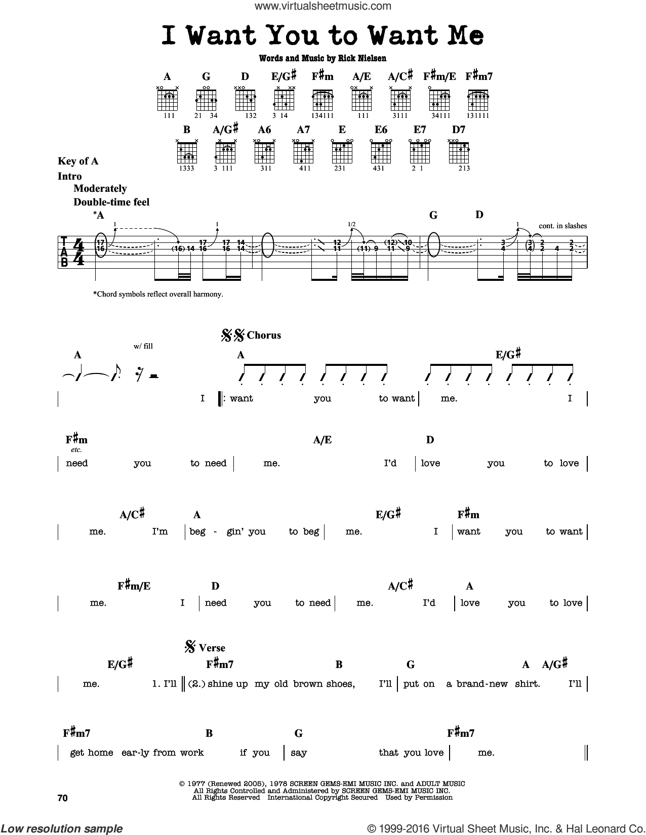 I Want You To Want Me sheet music for guitar solo (lead sheet) by Cheap Trick, Dwight Yoakam and Rick Nielsen, intermediate guitar (lead sheet)
