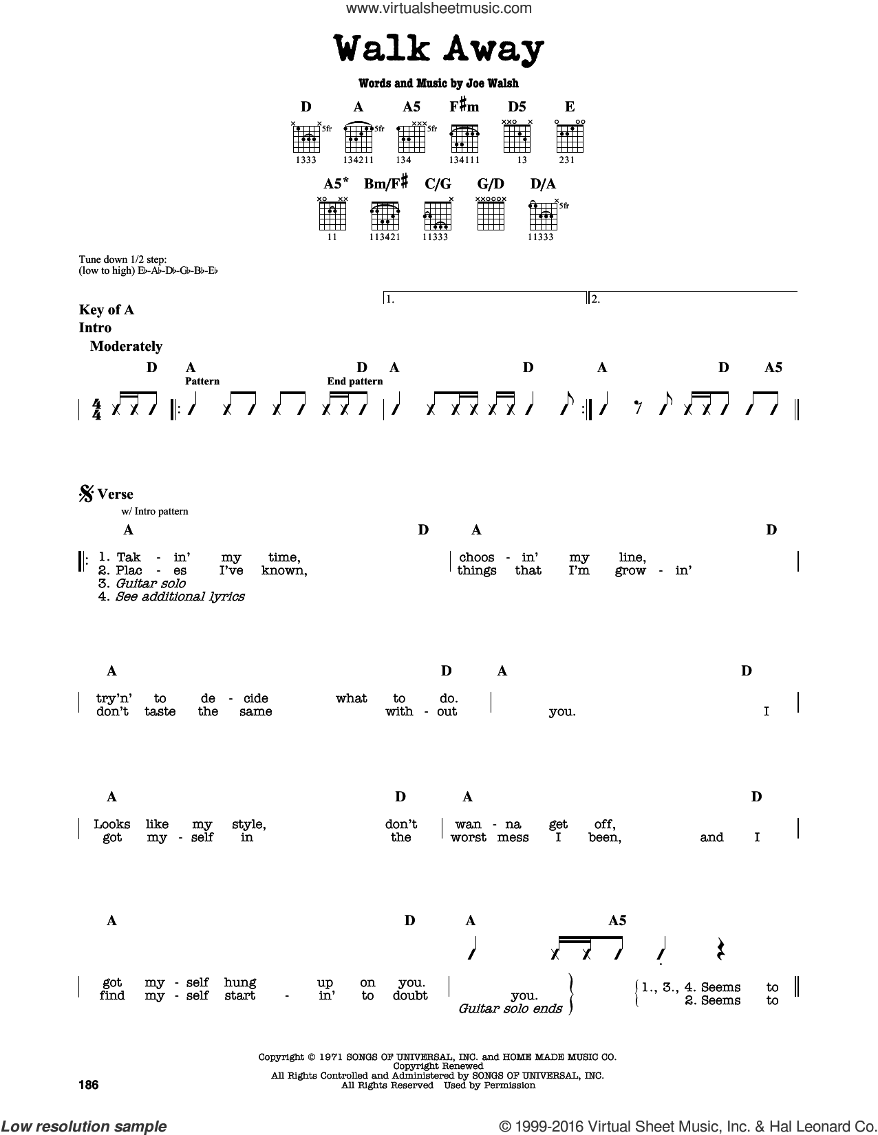 Walk Away sheet music for guitar solo (lead sheet) by The James Gang and Joe Walsh, intermediate guitar (lead sheet)