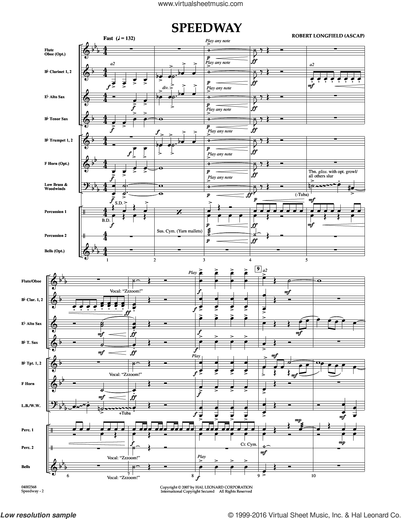 Speedway (COMPLETE) sheet music for concert band by Robert Longfield, intermediate concert band. Score Image Preview.