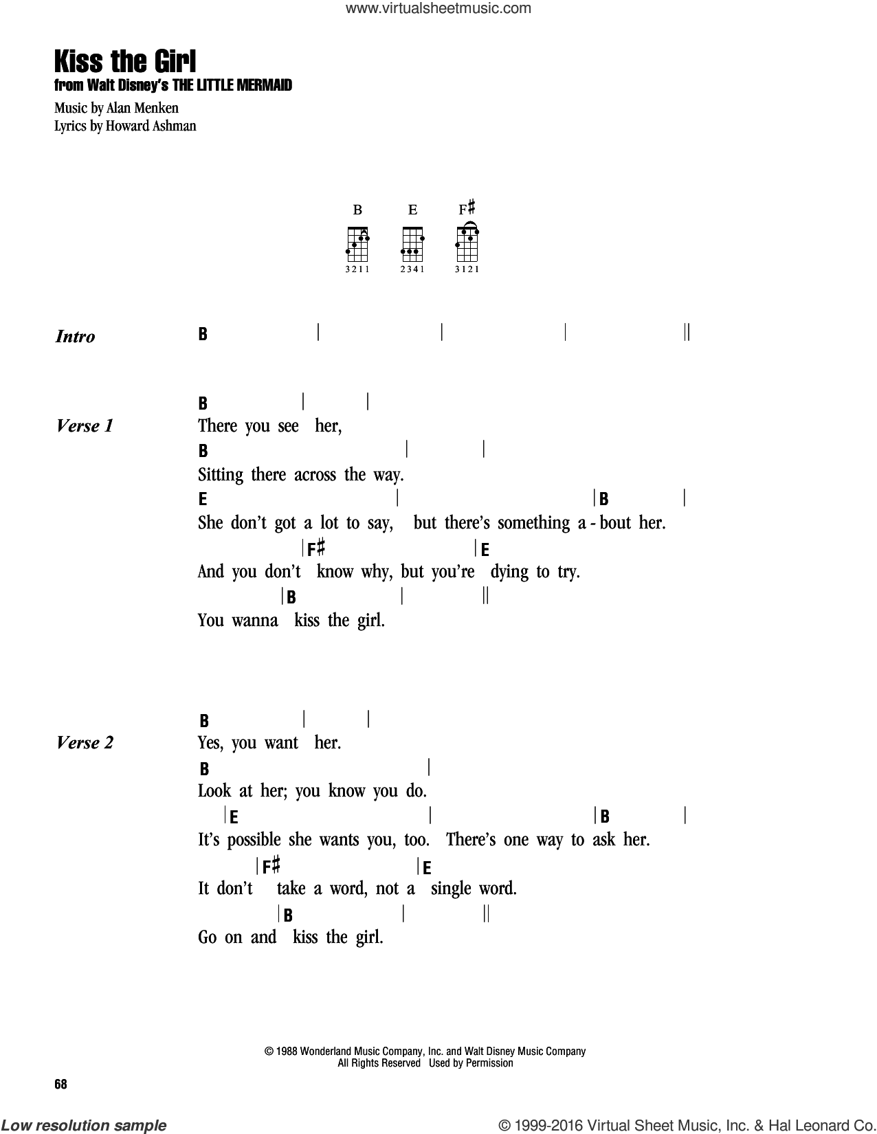Kiss The Girl sheet music for ukulele (chords) by Colbie Caillat, Alan Menken and Howard Ashman, intermediate. Score Image Preview.
