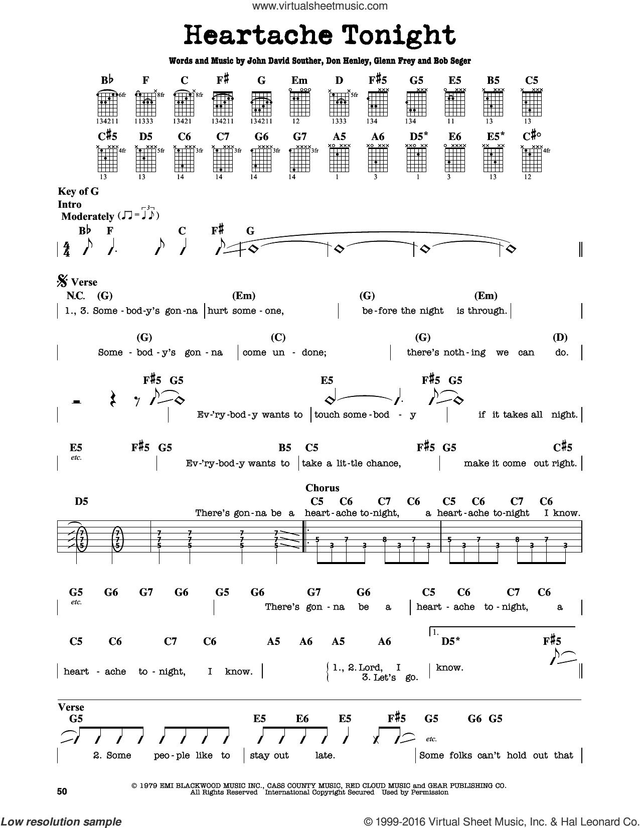 Heartache Tonight sheet music for guitar solo (lead sheet) by John David Souther, Eagles, Bob Seger, Don Henley and Glenn Frey. Score Image Preview.
