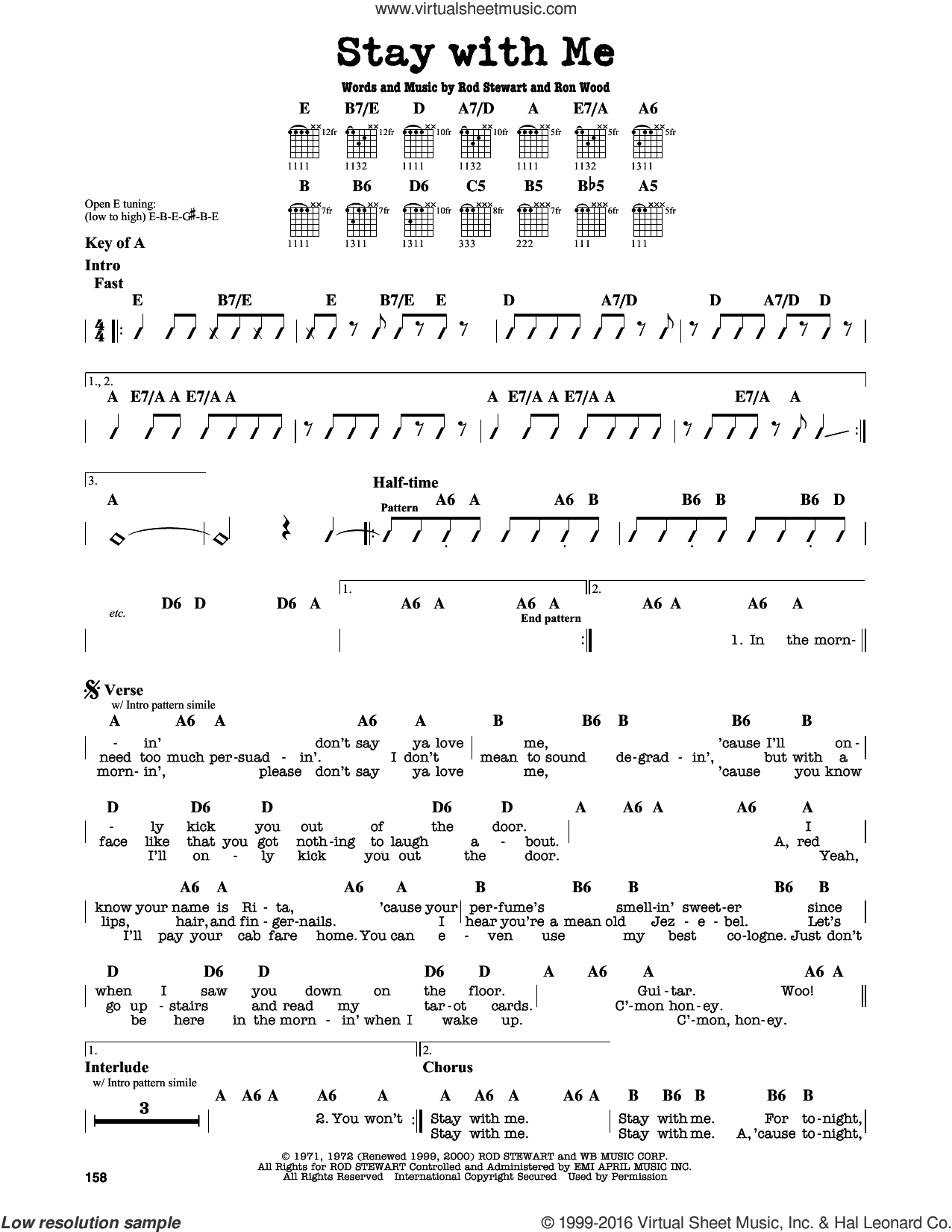Stay With Me sheet music for guitar solo (lead sheet) by Ron Wood and Rod Stewart. Score Image Preview.