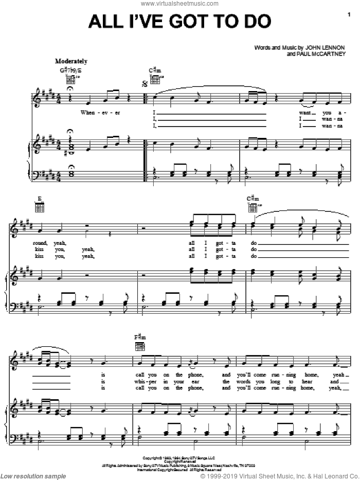 All I've Got To Do sheet music for voice, piano or guitar by Paul McCartney, The Beatles and John Lennon. Score Image Preview.