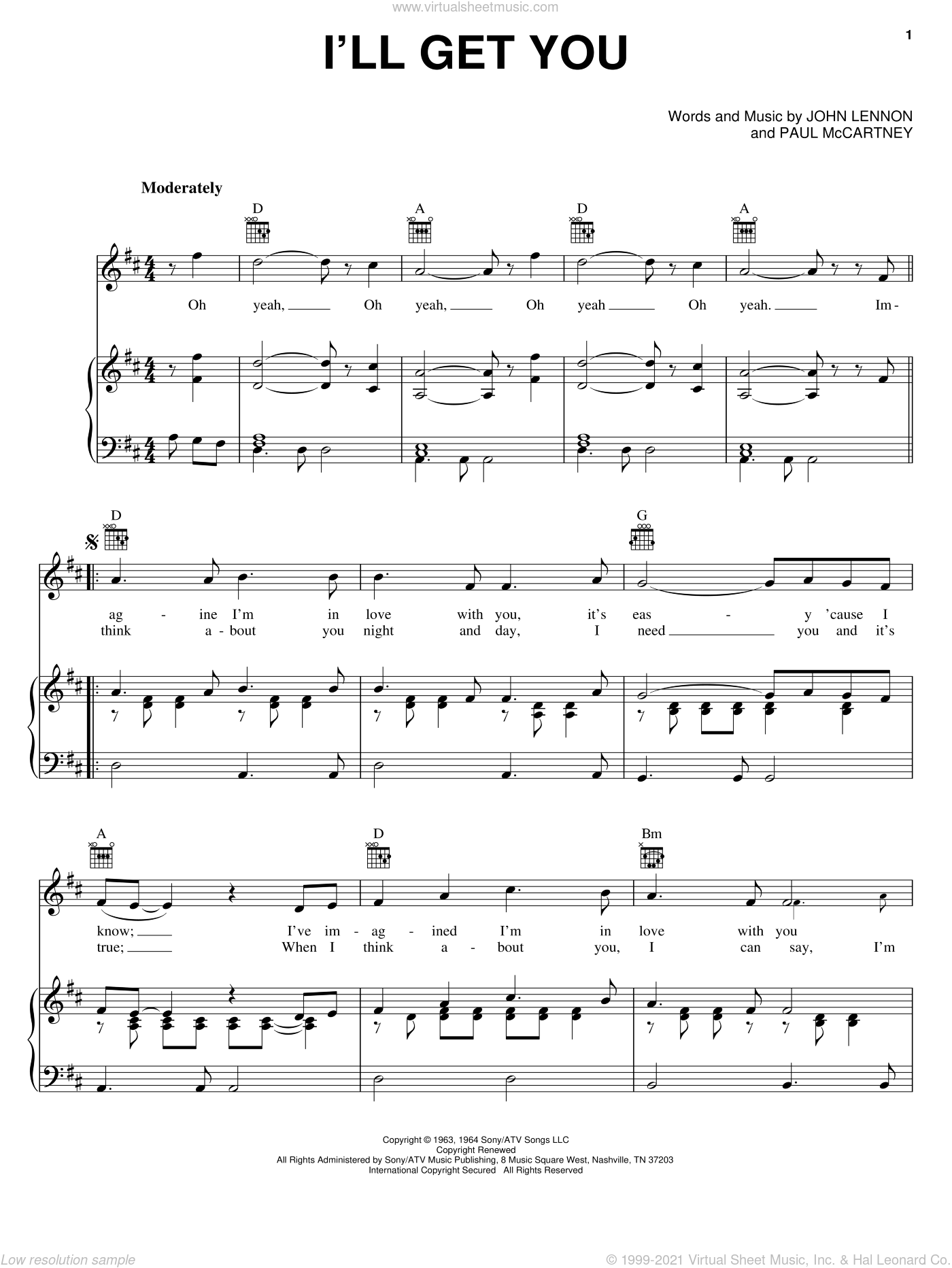 I'll Get You sheet music for voice, piano or guitar by Paul McCartney, The Beatles and John Lennon. Score Image Preview.