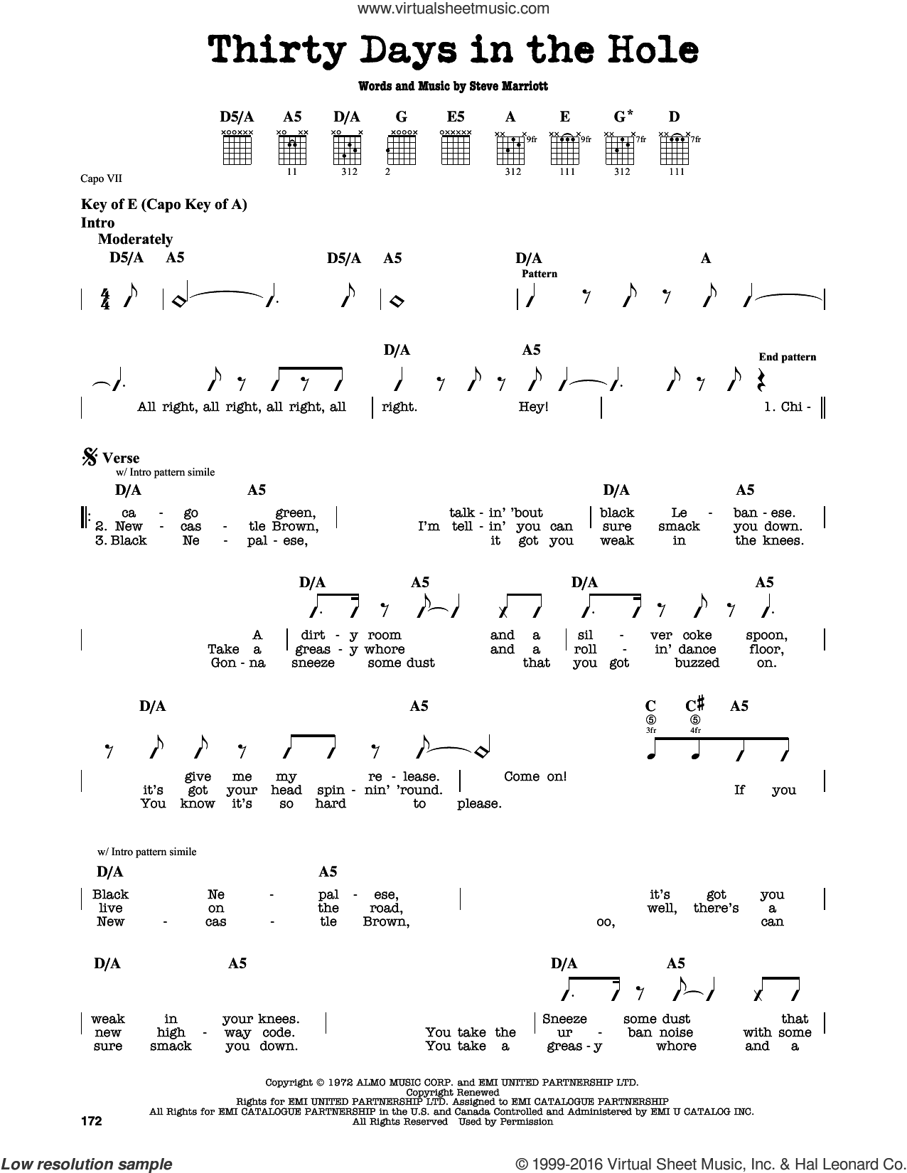 Thirty Days In The Hole sheet music for guitar solo (lead sheet) by Humble Pie and Steve Marriott. Score Image Preview.
